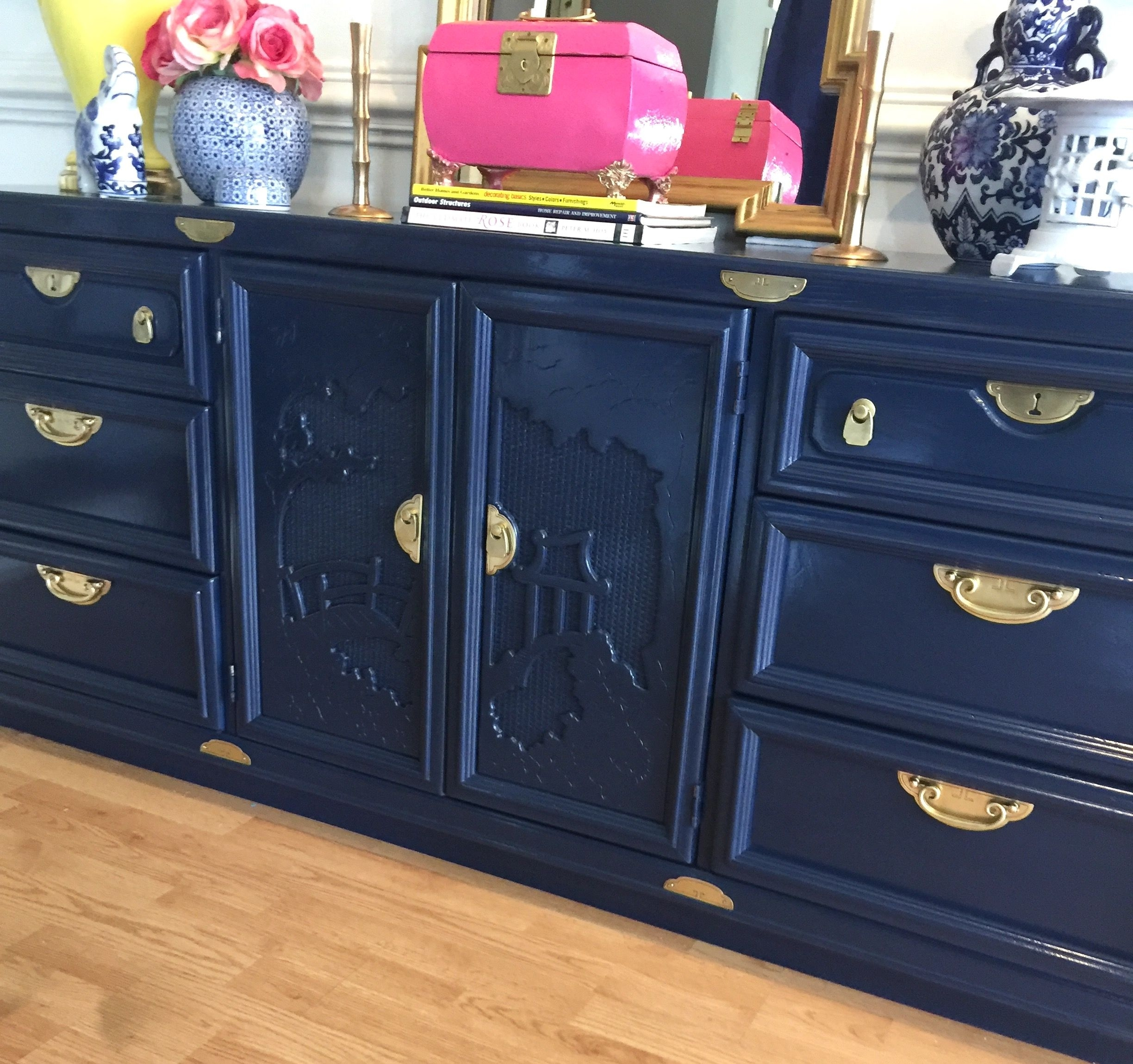 Deep Navy Lacquered Hollywood Regency Chinoiserie Buffet Sideboard throughout Solar Refinement Sideboards (Image 8 of 30)