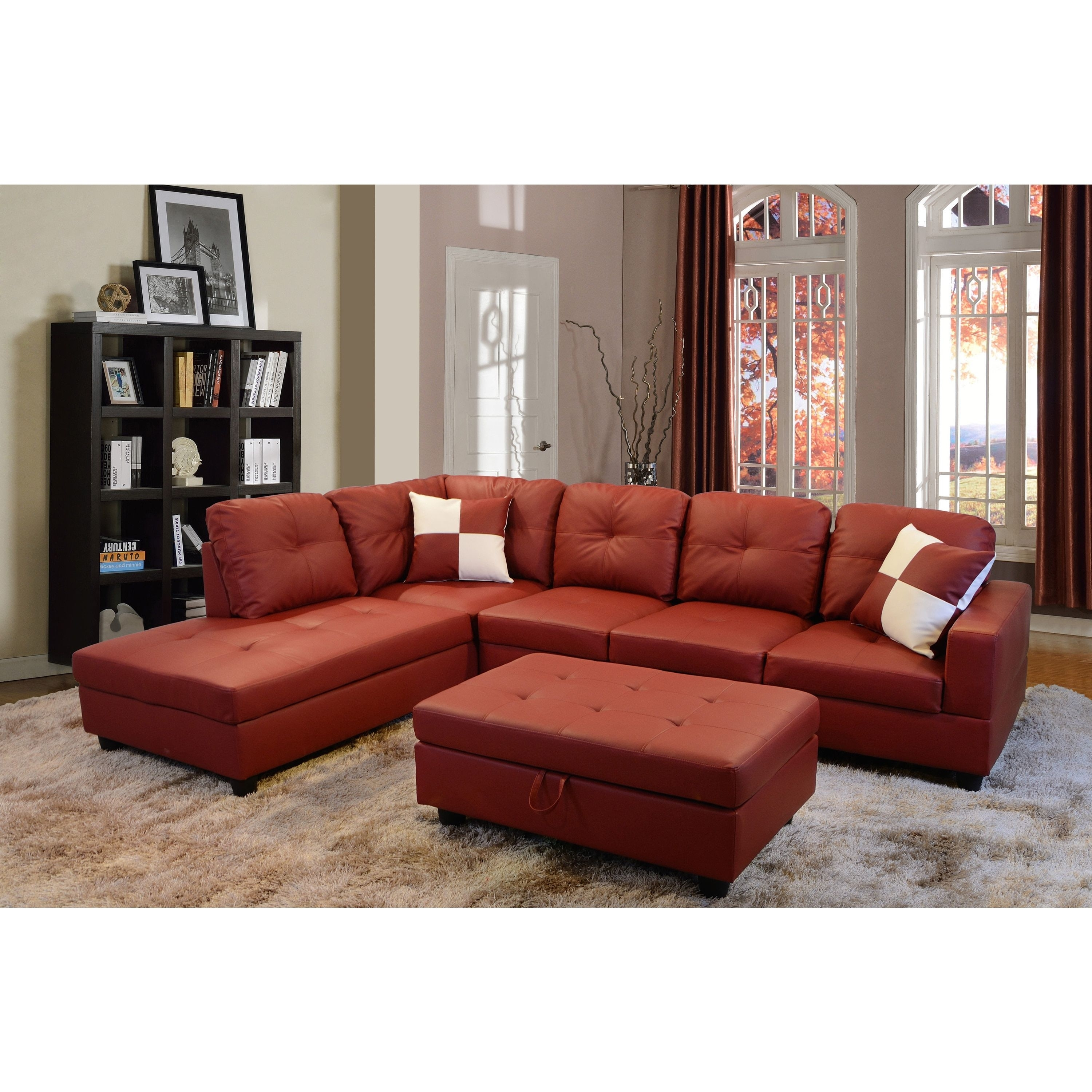 Delma 3-Piece Red Faux Leather Furniture Set (Delma 3-Pc Faux in Tenny Dark Grey 2 Piece Left Facing Chaise Sectionals With 2 Headrest (Image 15 of 30)