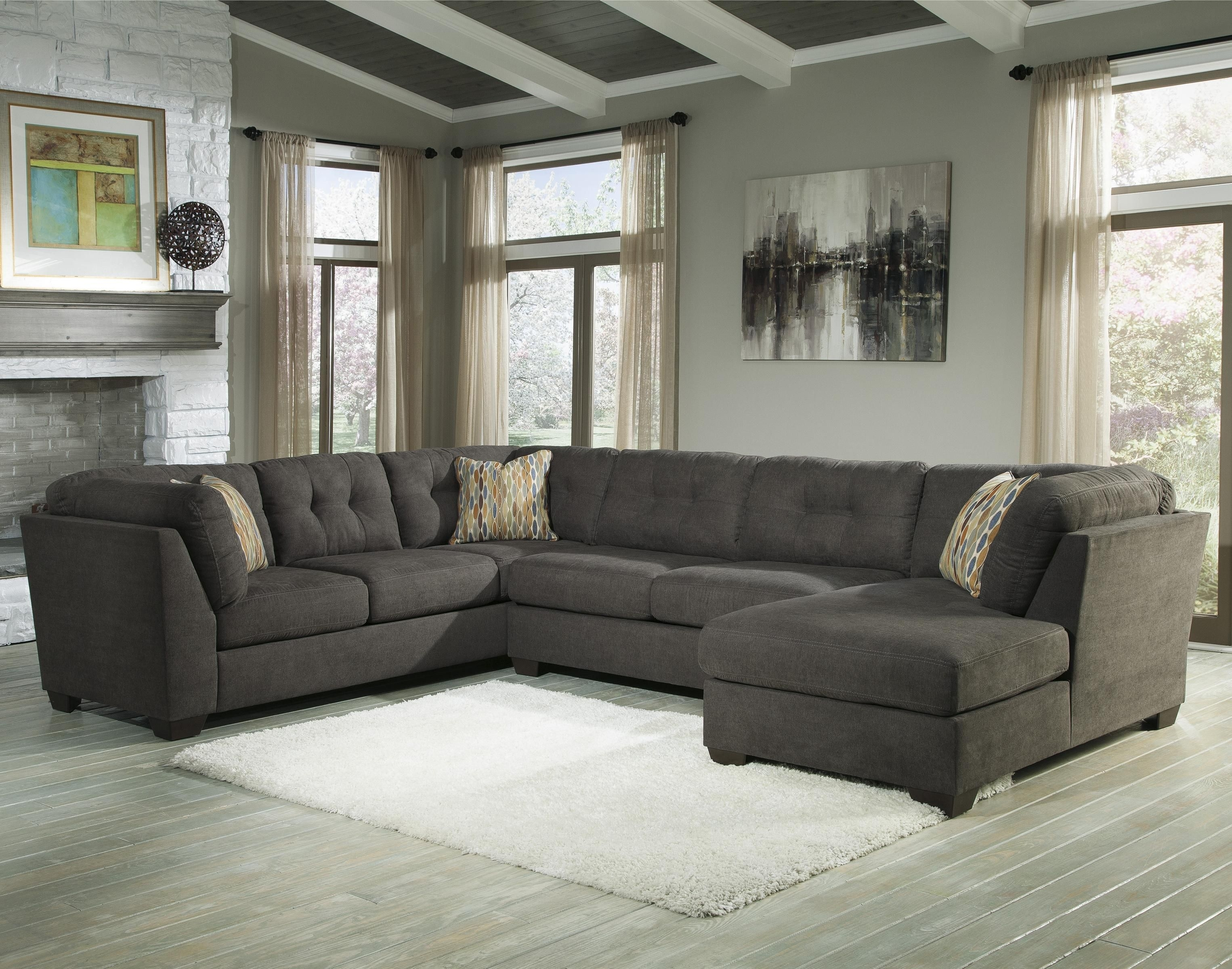 Delta City - Steel 3-Piece Modular Sectional With Right Chaise for Haven Blue Steel 3 Piece Sectionals (Image 9 of 30)