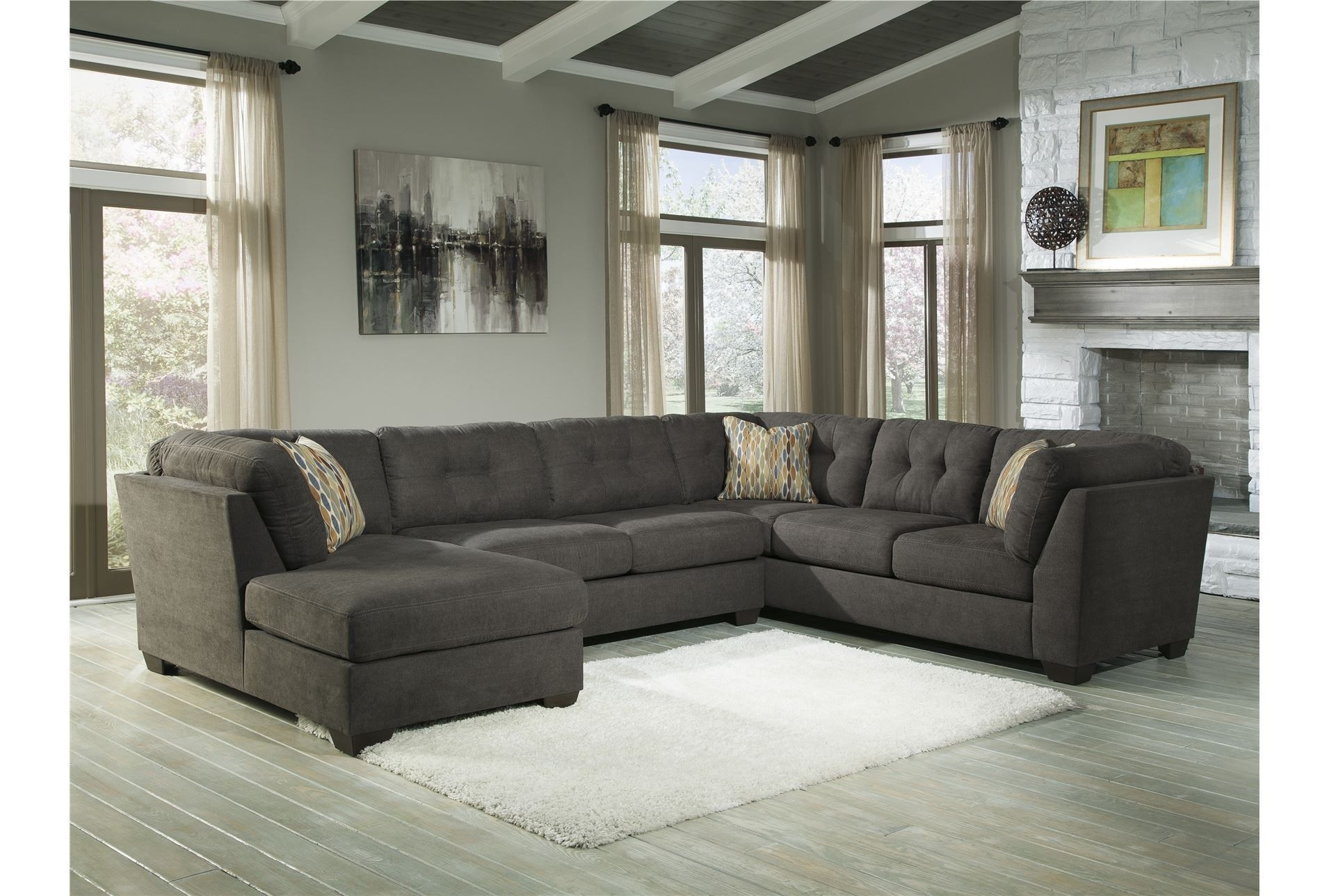 Delta City Steel 3 Piece Sectional W/laf Chaise- Living Room Option pertaining to Haven Blue Steel 3 Piece Sectionals (Image 10 of 30)