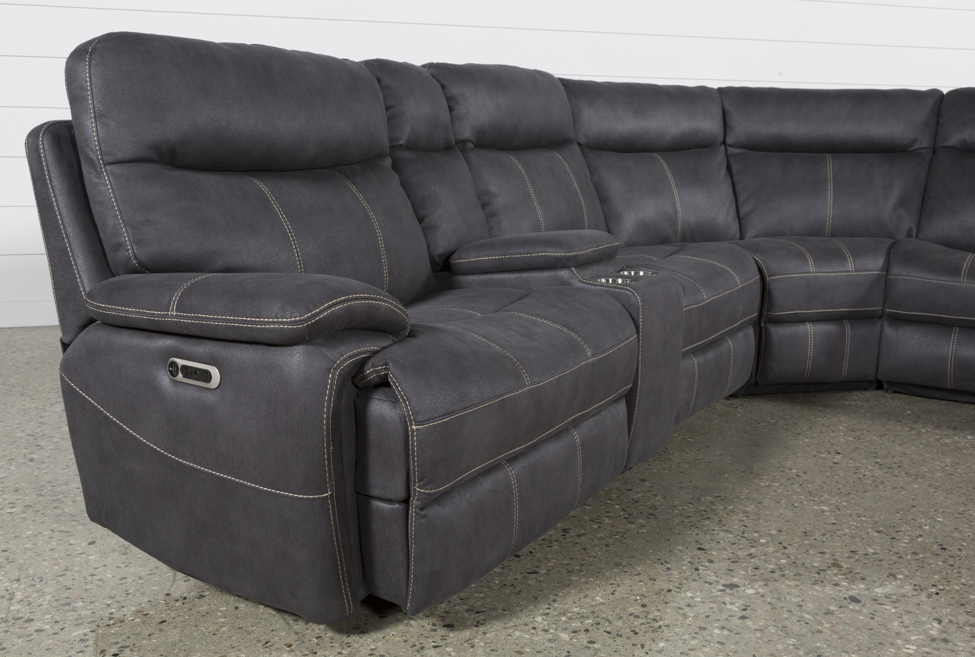Denali Charcoal Grey 6 Piece Reclining Sectional W/2 Power Headrests pertaining to Waylon 3 Piece Power Reclining Sectionals (Image 7 of 30)