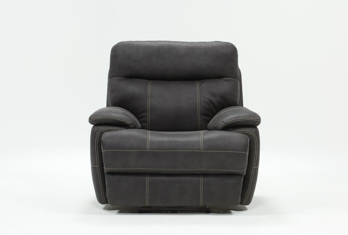 Denali Charcoal Grey Power Recliner W/power Headrest & Usb | Living with Denali Charcoal Grey 6 Piece Reclining Sectionals With 2 Power Headrests (Image 12 of 30)