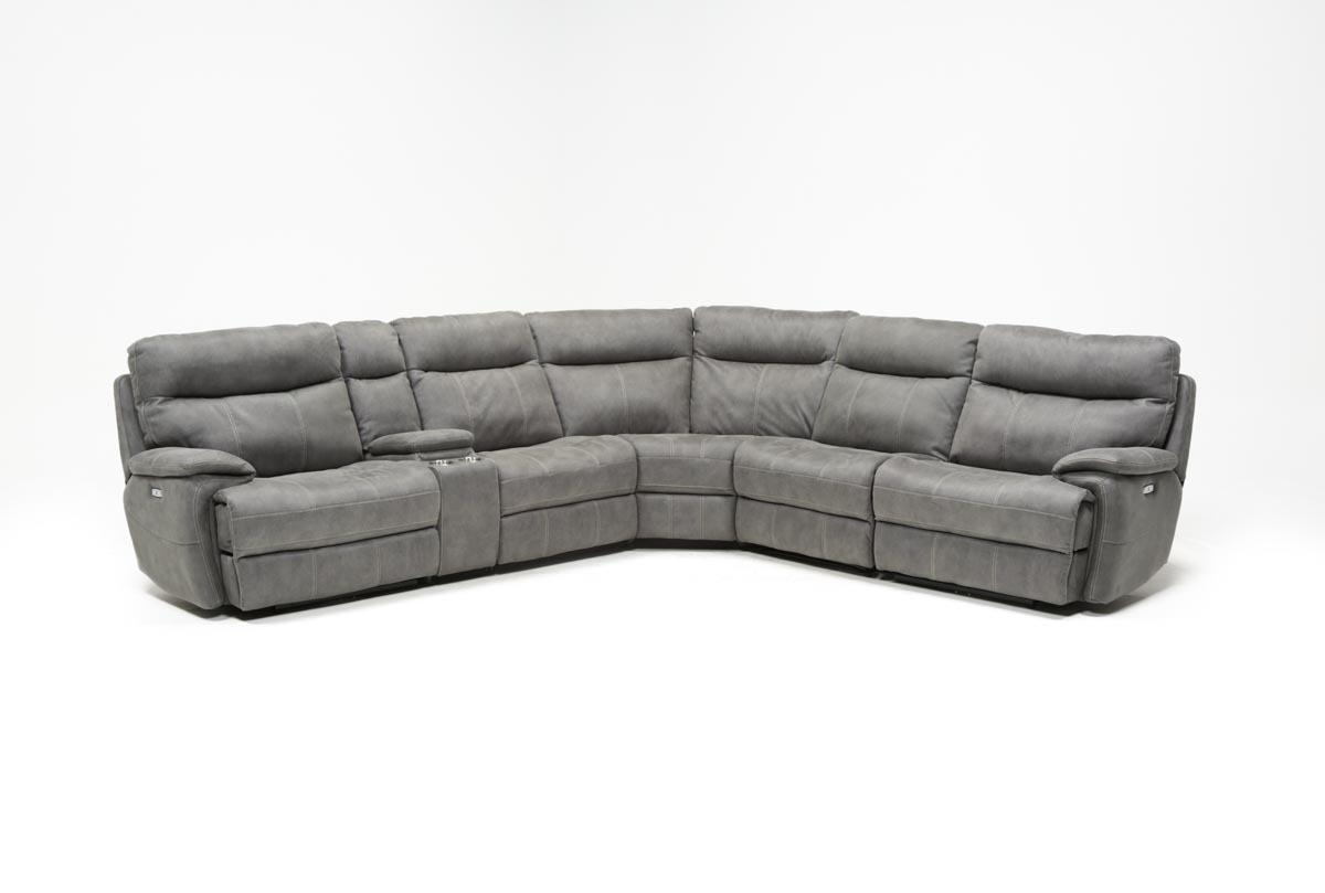 Denali Light Grey 6 Piece Reclining Sectional W/2 Power Headrests intended for Denali Charcoal Grey 6 Piece Reclining Sectionals With 2 Power Headrests (Image 13 of 30)