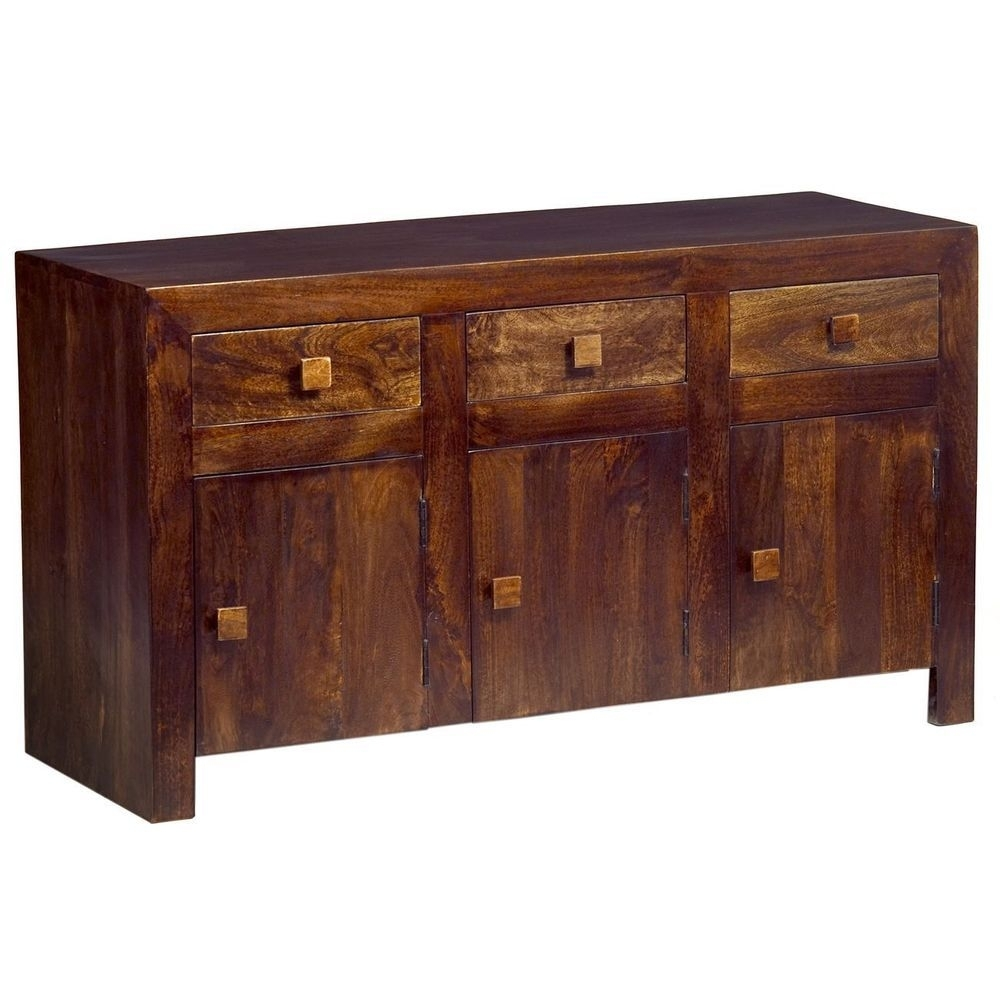 Details About 3 Door 2 Drawer Sideboard Storage Walnut Finish Mango intended for Mango Wood 2-Door/2-Drawer Sideboards (Image 10 of 30)