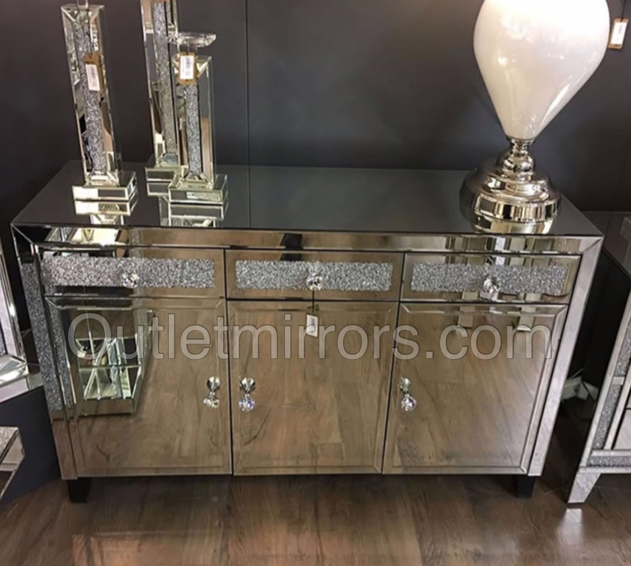 Diamond Crush Sparkle Mirrored 3 Draw / 3 Door Sideboard | Living with Diamond Circle Sideboards (Image 7 of 30)