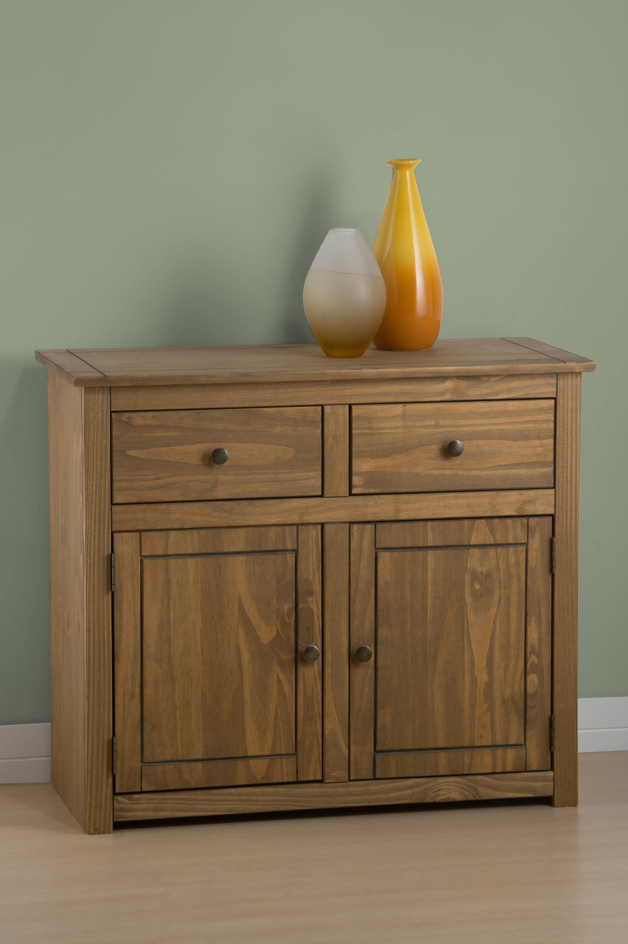 Distressed Waxed Pine Finish Sideboard Cabinet Storage Cupboard Unit intended for Reclaimed Pine Turquoise 4-Door Sideboards (Image 9 of 30)