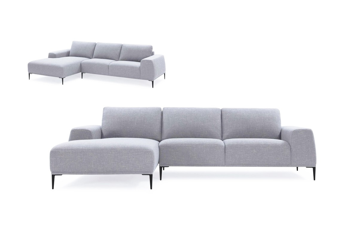 Divani Casa Arthur Modern Grey Fabric Sectional Sofa W/ Left Facing with Norfolk Grey 3 Piece Sectionals With Laf Chaise (Image 7 of 30)