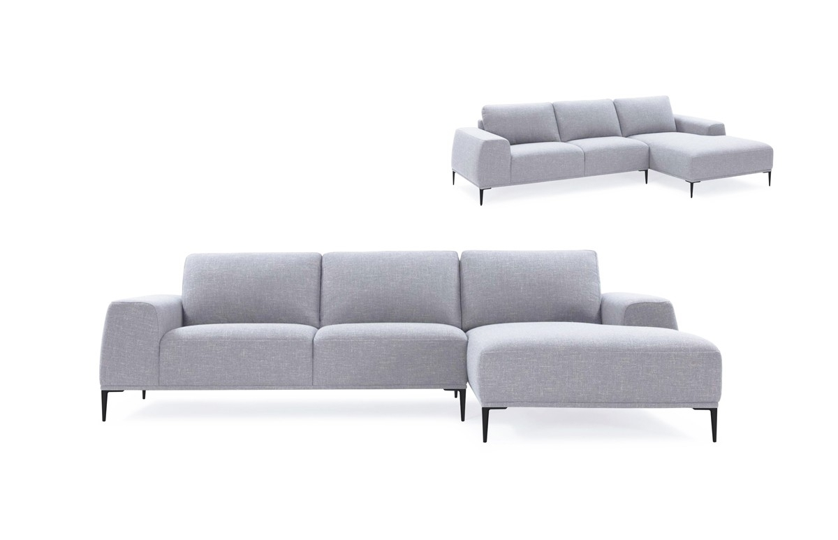 Divani Casa Arthur Modern Grey Fabric Sectional Sofa W/ Right Facing with regard to Norfolk Grey 3 Piece Sectionals With Raf Chaise (Image 8 of 30)