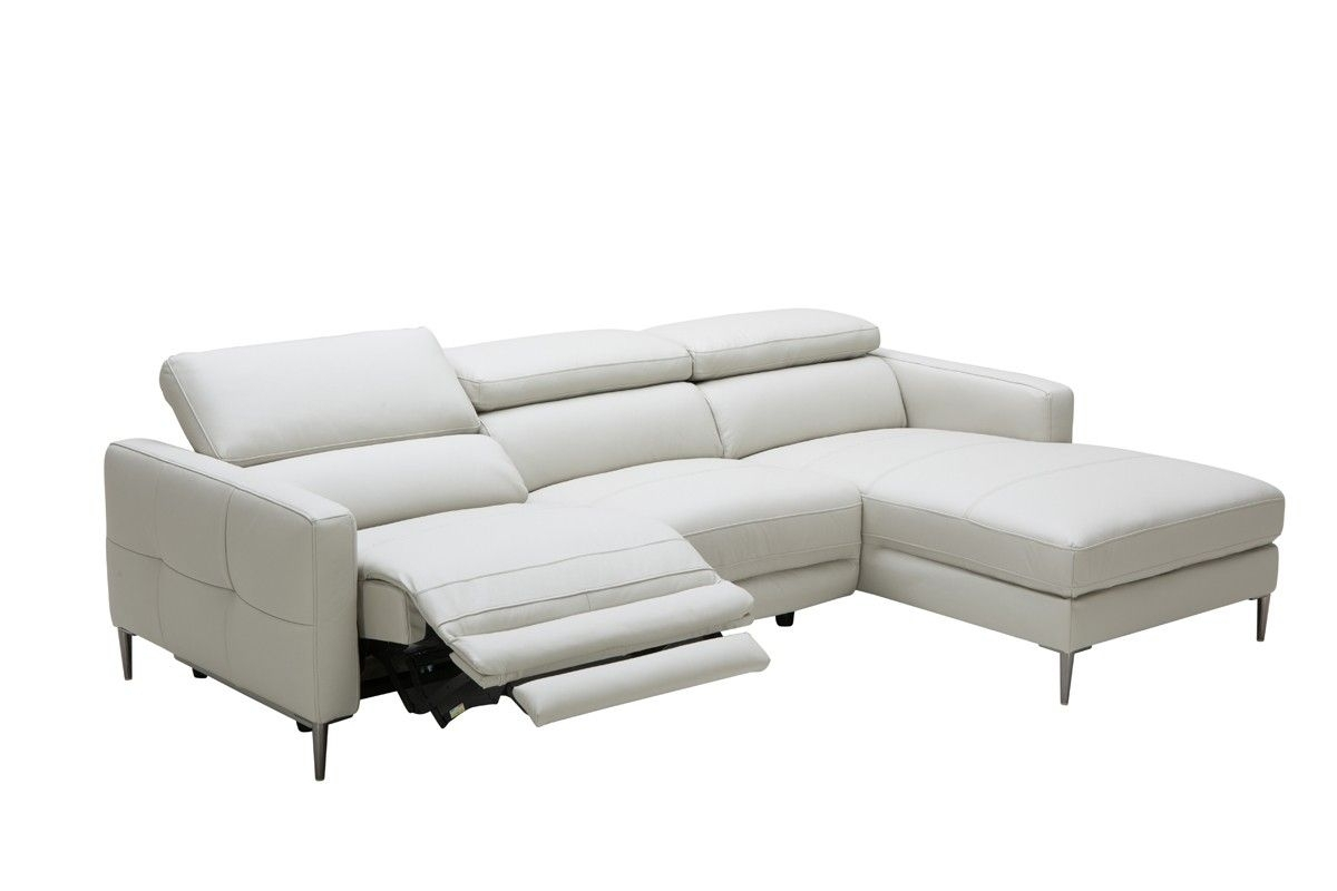 Divani Casa Booth Modern Light Grey Leather Sectional Sofa W within London Optical Reversible Sofa Chaise Sectionals (Image 10 of 30)
