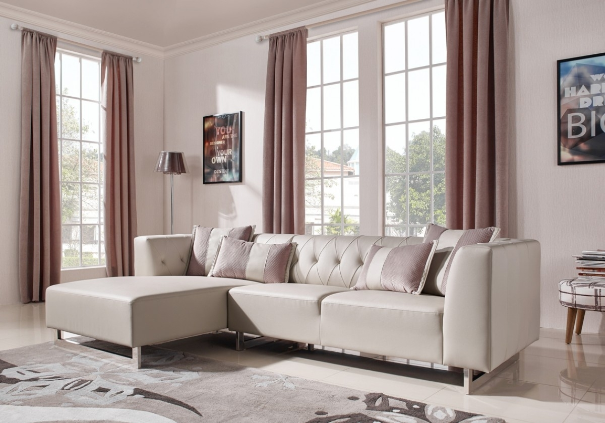 Divani Casa Carolina Modern Leatherette & Fabric Sectional Sofa throughout Norfolk Grey 3 Piece Sectionals With Laf Chaise (Image 8 of 30)