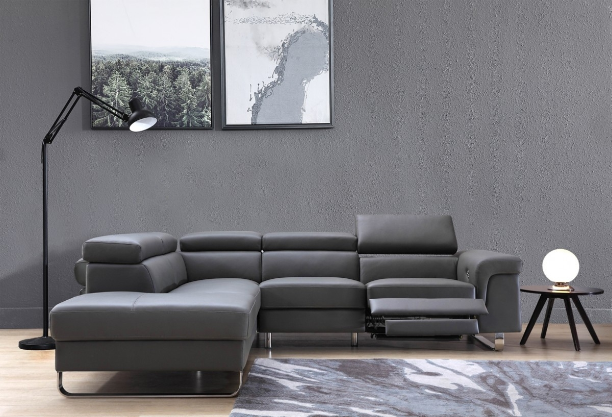 Divani Casa Chaz Modern Grey Leather Sectional Sofa W/ Recliner for Tatum Dark Grey 2 Piece Sectionals With Laf Chaise (Image 9 of 30)