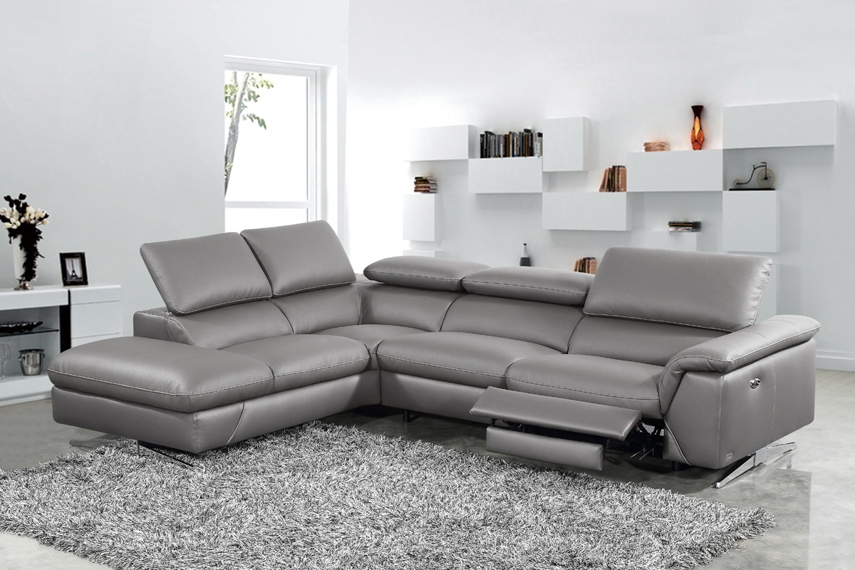 Divani Casa Maine Modern Dark Grey Eco-Leather Sectional Sofa W for Norfolk Grey 3 Piece Sectionals With Laf Chaise (Image 9 of 30)
