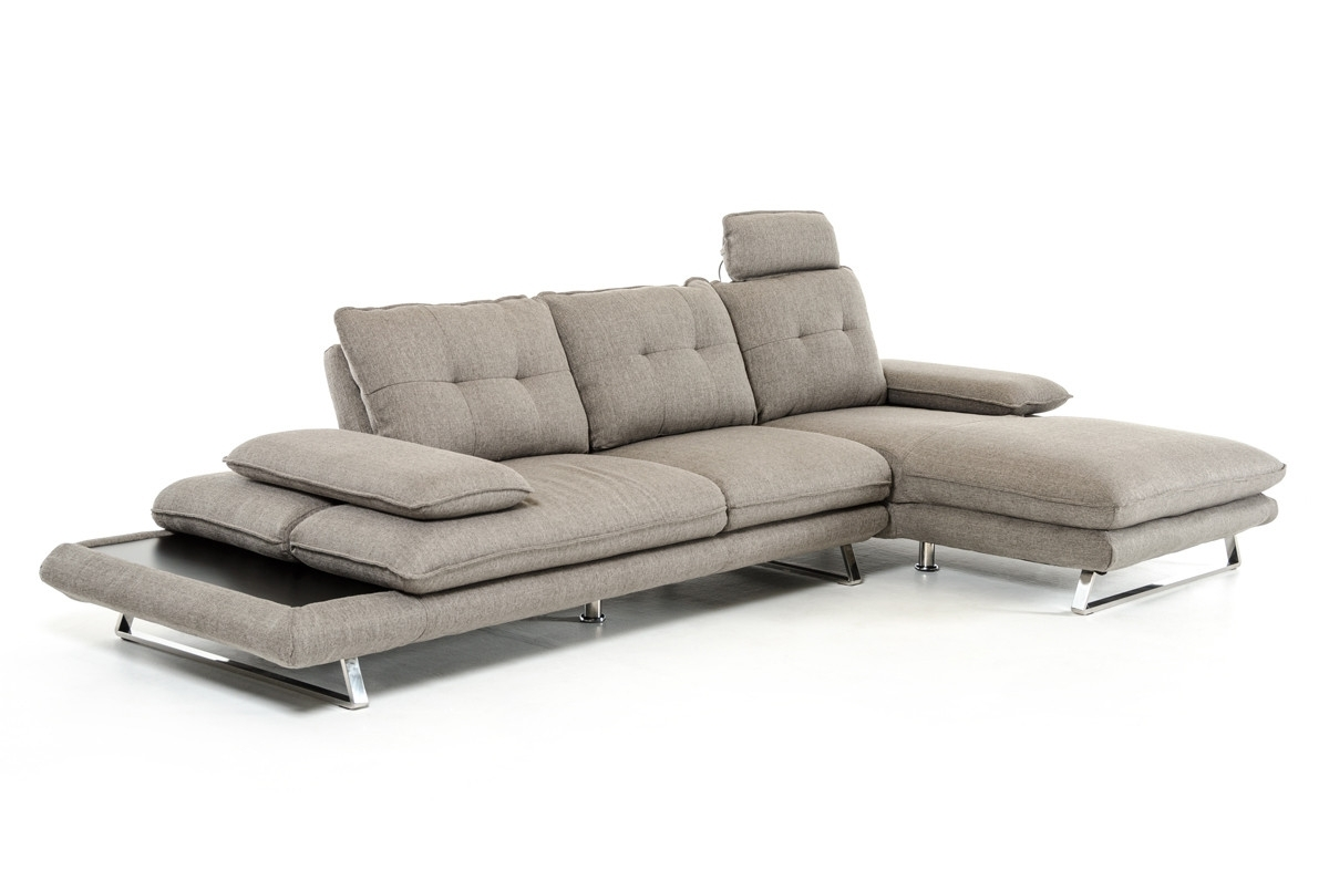 Divani Casa Porter Modern Grey Fabric Sectional Sofa with regard to Norfolk Grey 3 Piece Sectionals With Laf Chaise (Image 9 of 30)