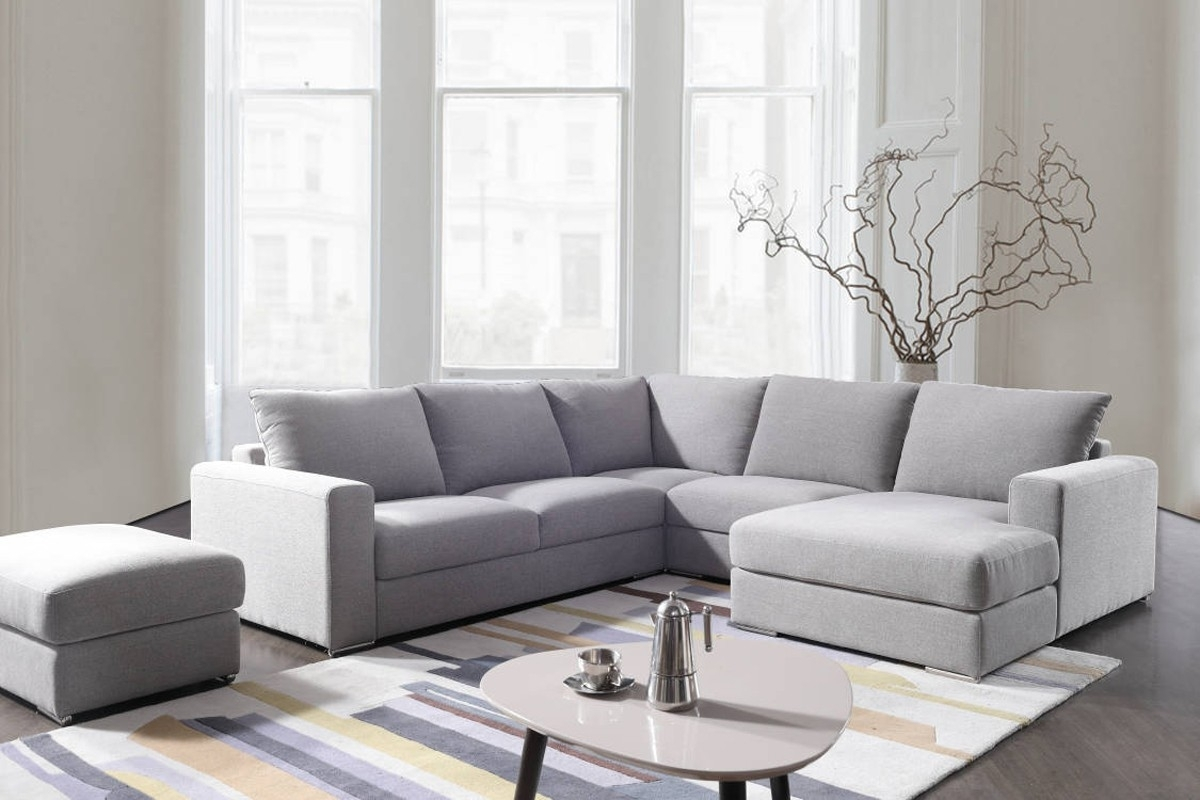 Divani Casa Valley Modern Grey Fabric Sectional Sofa & Ottoman inside Tatum Dark Grey 2 Piece Sectionals With Raf Chaise (Image 6 of 30)