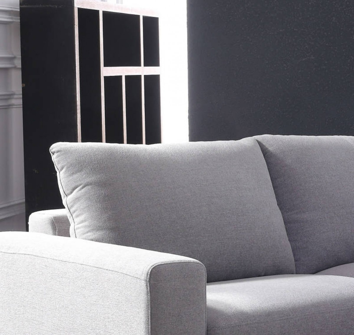 Divani Casa Valley Modern Grey Fabric Sectional Sofa & Ottoman intended for Tatum Dark Grey 2 Piece Sectionals With Raf Chaise (Image 7 of 30)