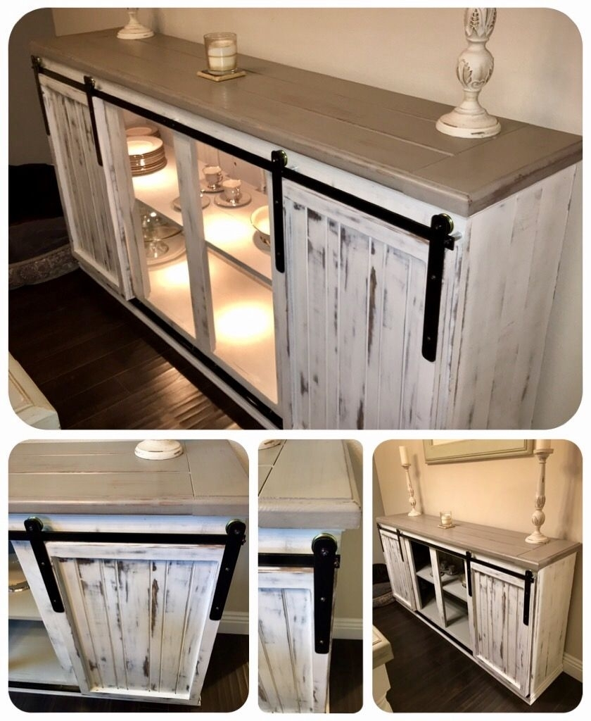 Diy - Sideboard / Buffet Table. Farmhouse Barn Style Hanging Doors with Solar Refinement Sideboards (Image 10 of 30)
