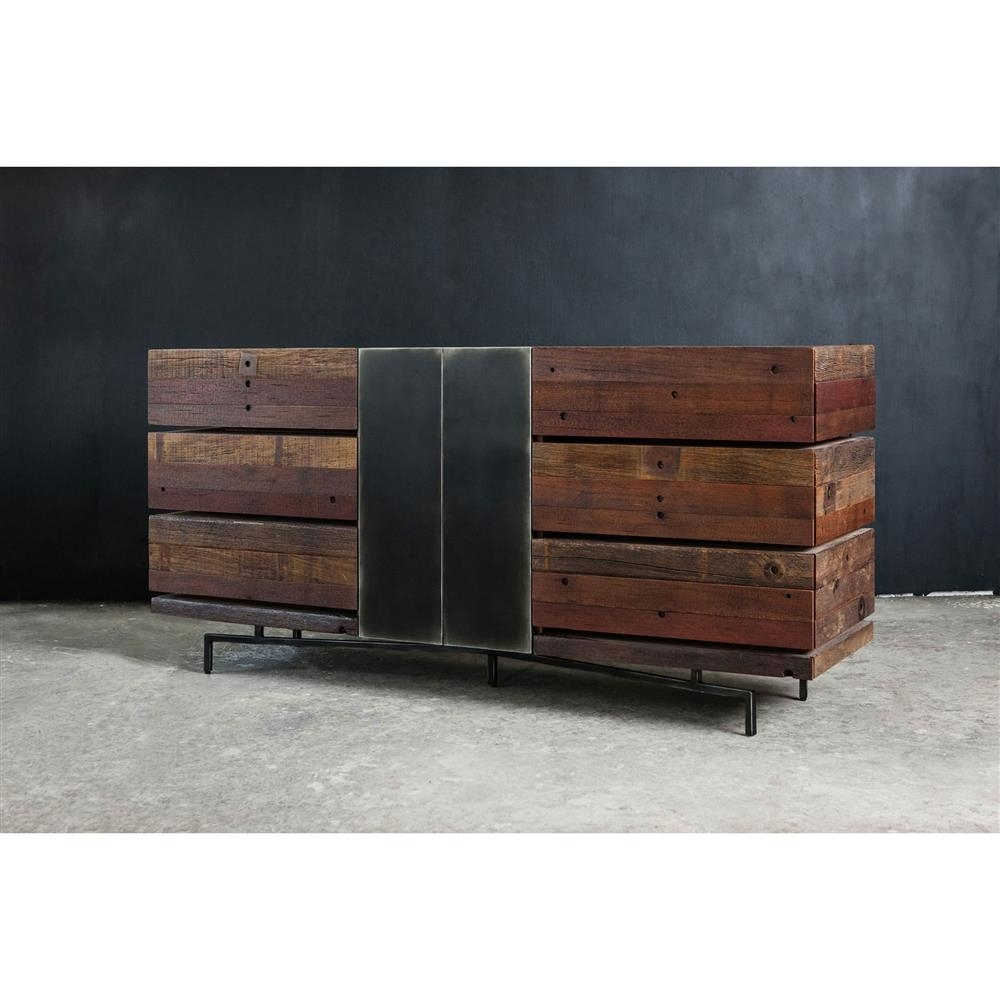 Don Rustic Modern Reclaimed Wood Metal Dresser | Kathy Kuo Home for Metal Framed Reclaimed Wood Sideboards (Image 11 of 30)