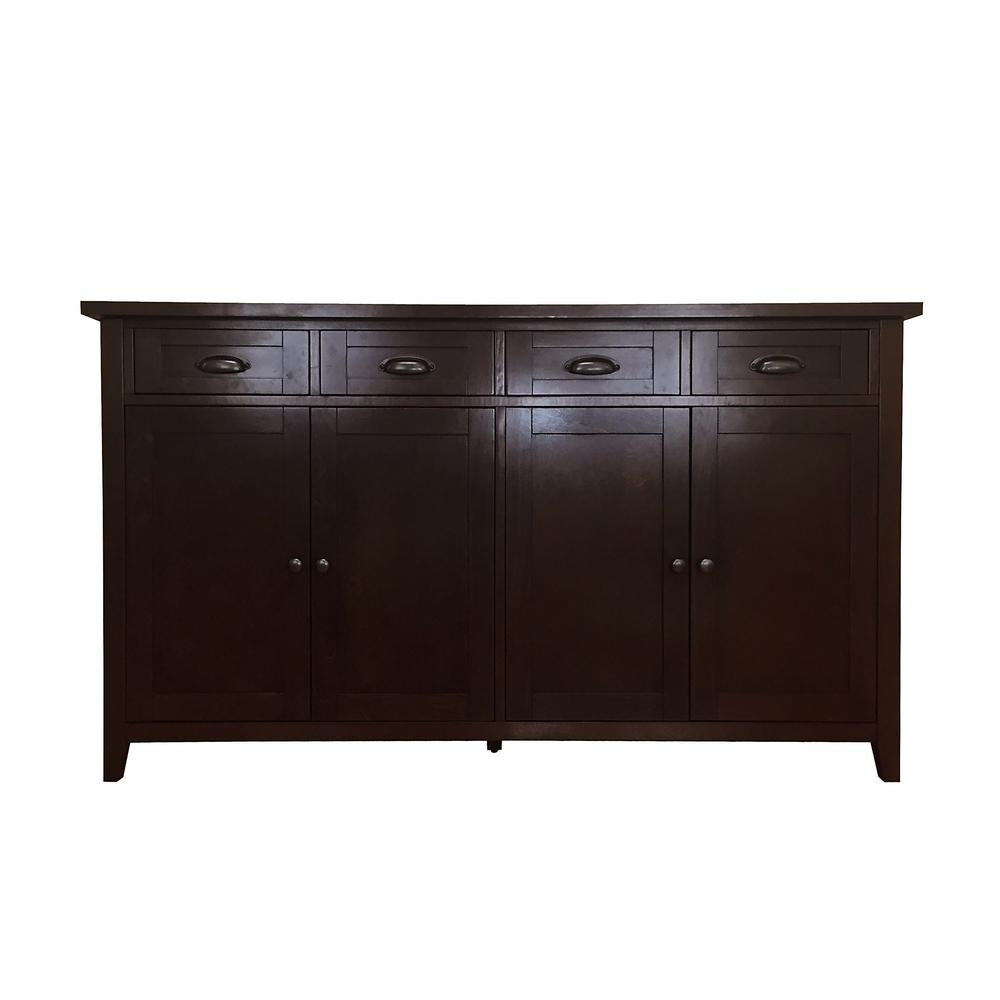 Donnieann Brookdale Dark Walnut Buffet/sideboard With 4-Drawers And inside Metal Refinement 4 Door Sideboards (Image 12 of 30)