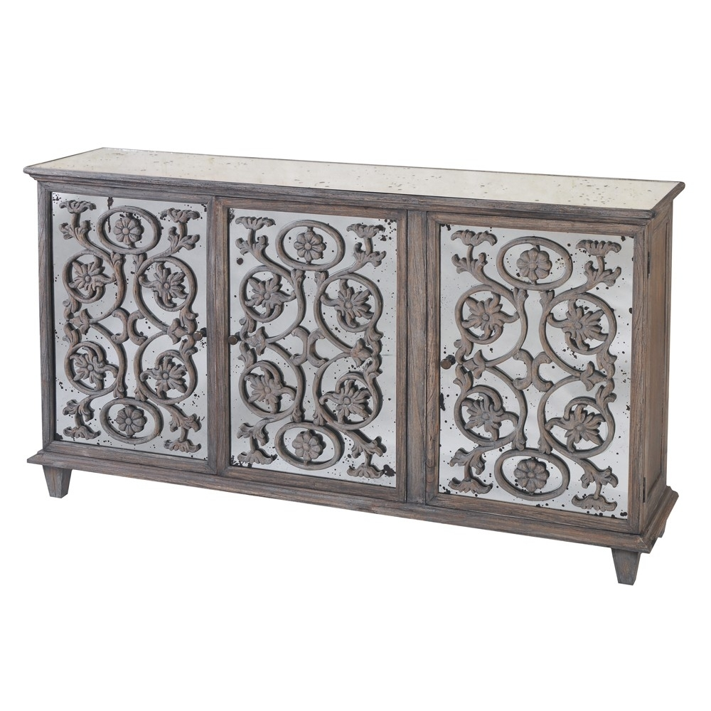 Dorset Antique Glass Flower Carvings Sideboard – Crown French Furniture In Iron Sideboards (View 10 of 30)