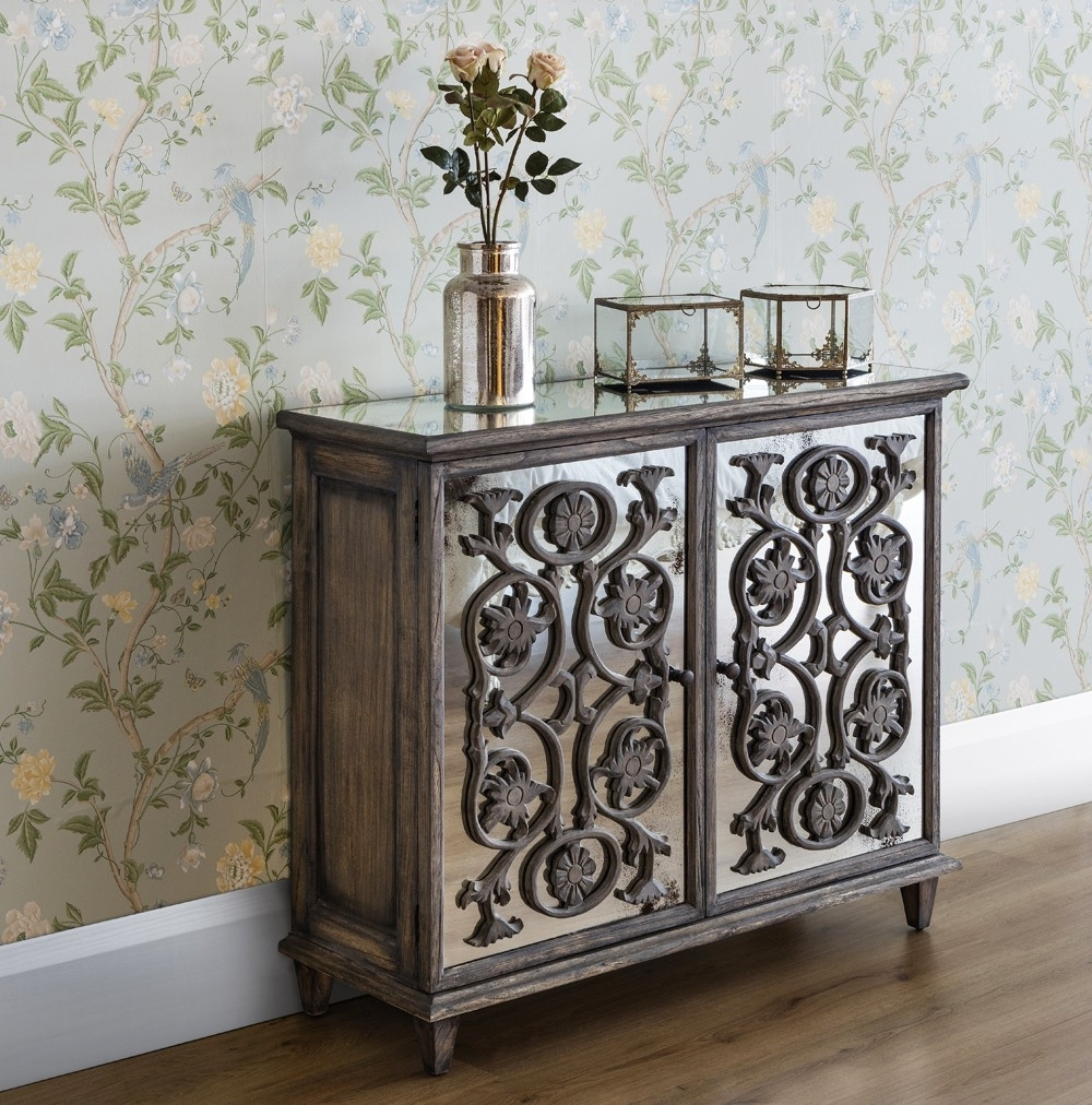 Dorset Contemporary 2 Door Flower Carving Sideboard - French Sideboards intended for Carved 4 Door Metal Frame Sideboards (Image 21 of 30)