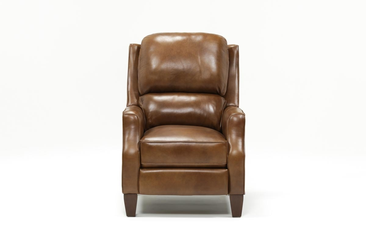 Douglas Caramel Leather High Leg Recliner | Living Spaces pertaining to Travis Cognac Leather 6 Piece Power Reclining Sectionals With Power Headrest & Usb (Image 14 of 30)