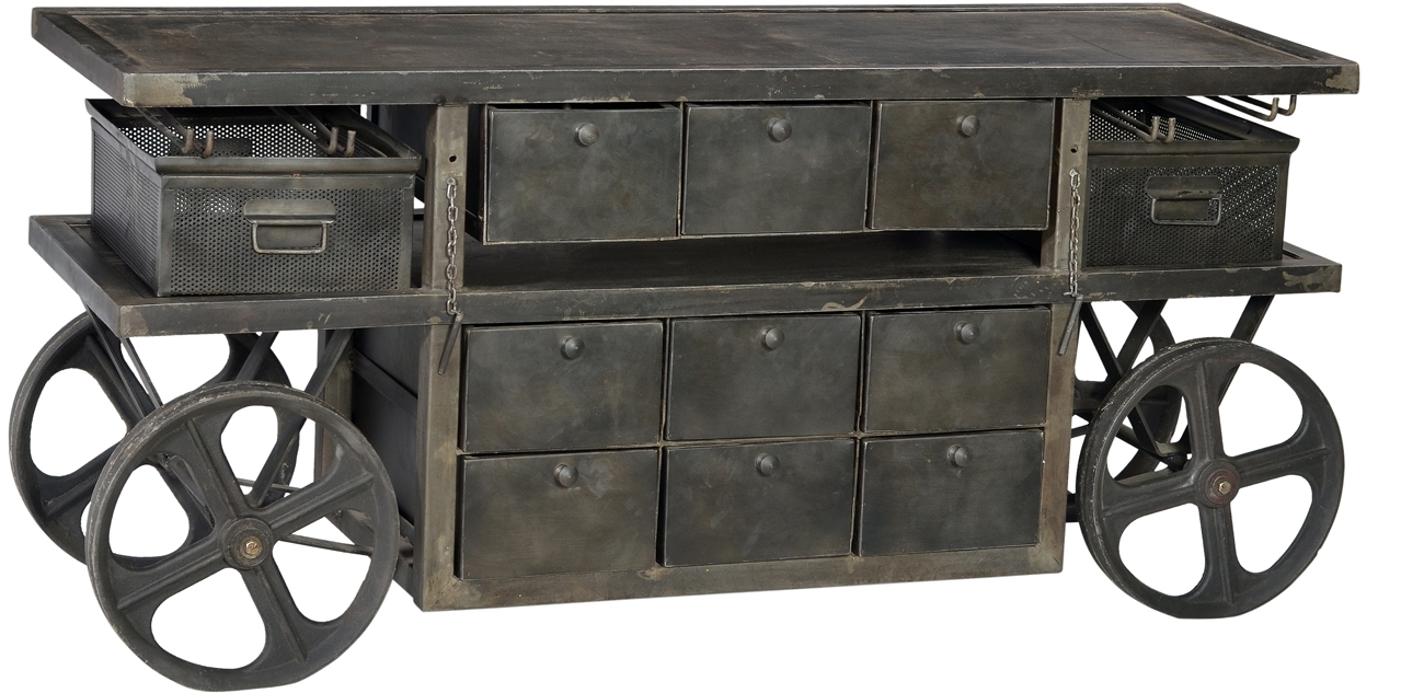 Dov Industrial Sideboard | Artiques Imports in Iron Sideboards (Image 11 of 30)