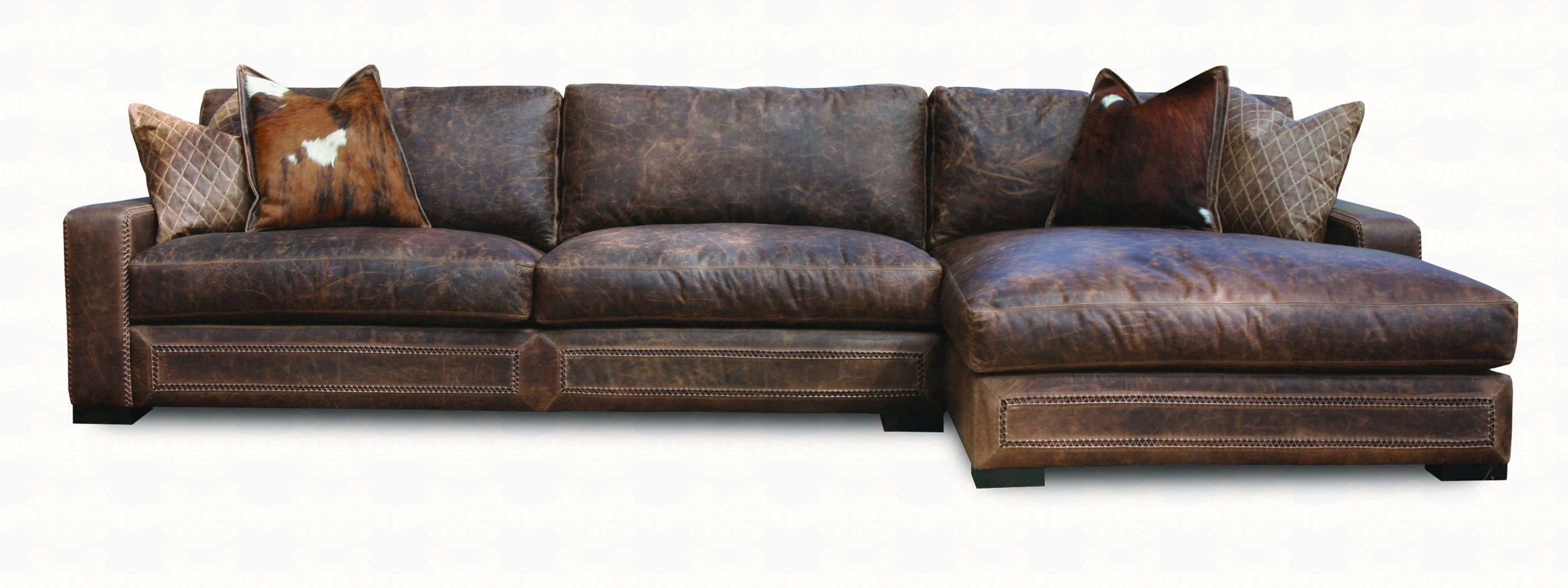 Downtown Cowboy Leather Sectional Sofa Collection | Santa Fe Ranch within Harper Foam 3 Piece Sectionals With Raf Chaise (Image 4 of 30)