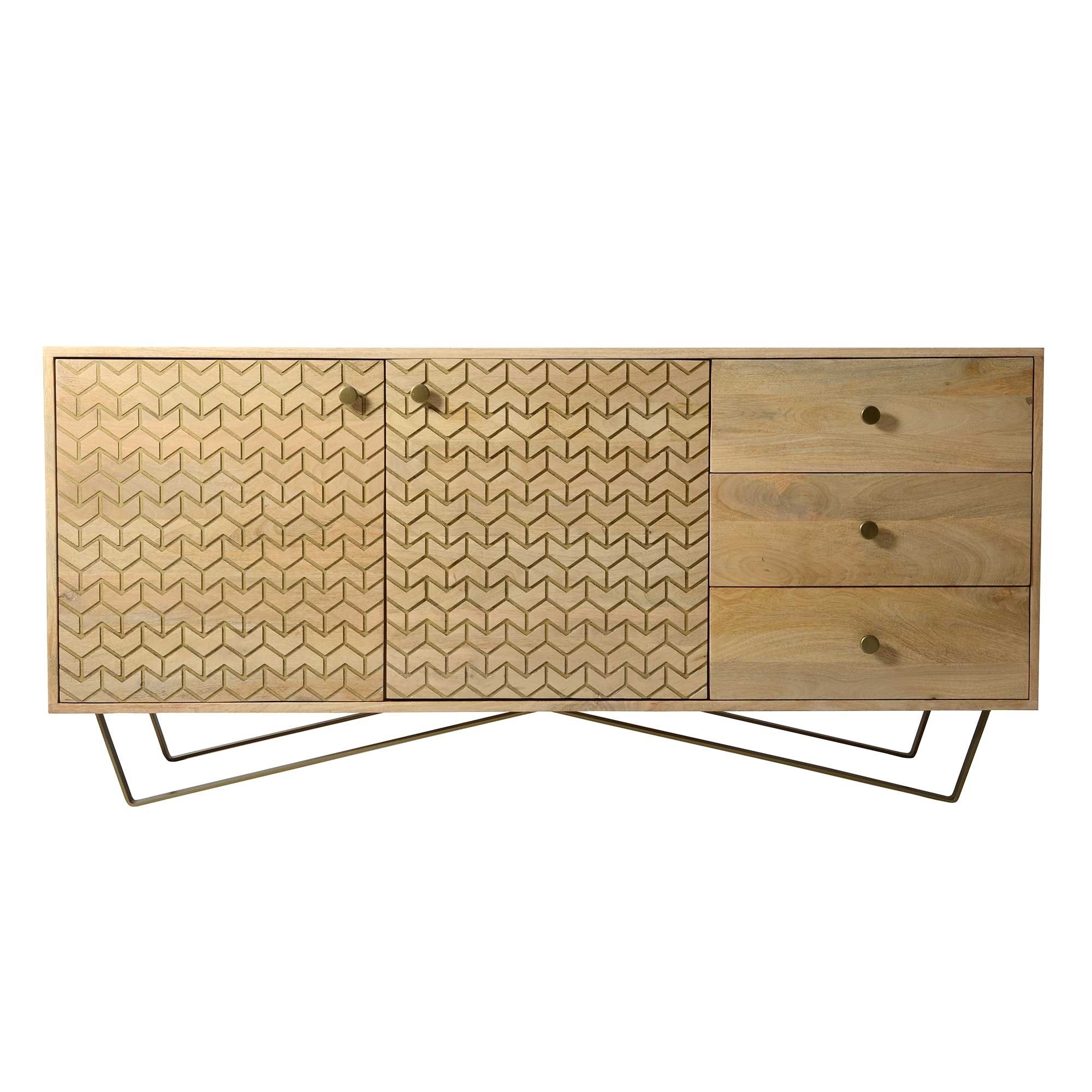 Drupe 3 Drawer 2 Door Sideboard, Mango Wood And Brass | Trend: What for Aged Pine 3-Drawer 2-Door Sideboards (Image 8 of 30)