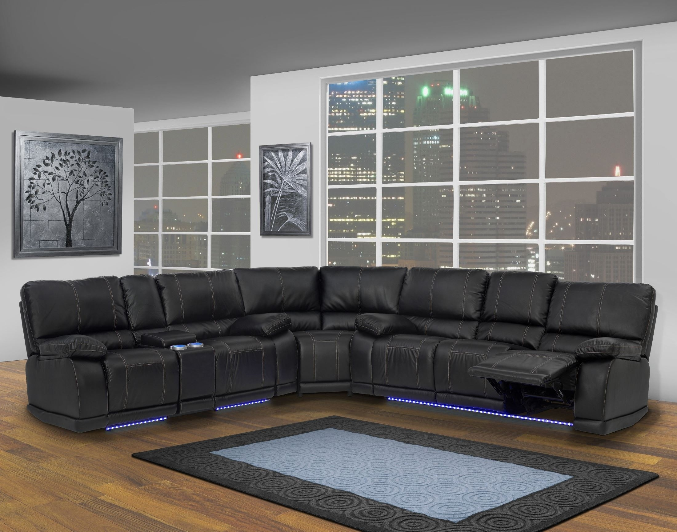 Electra Mesa Black Dual Reclining Sectional From New Classics (20 within Turdur 2 Piece Sectionals With Raf Loveseat (Image 7 of 30)