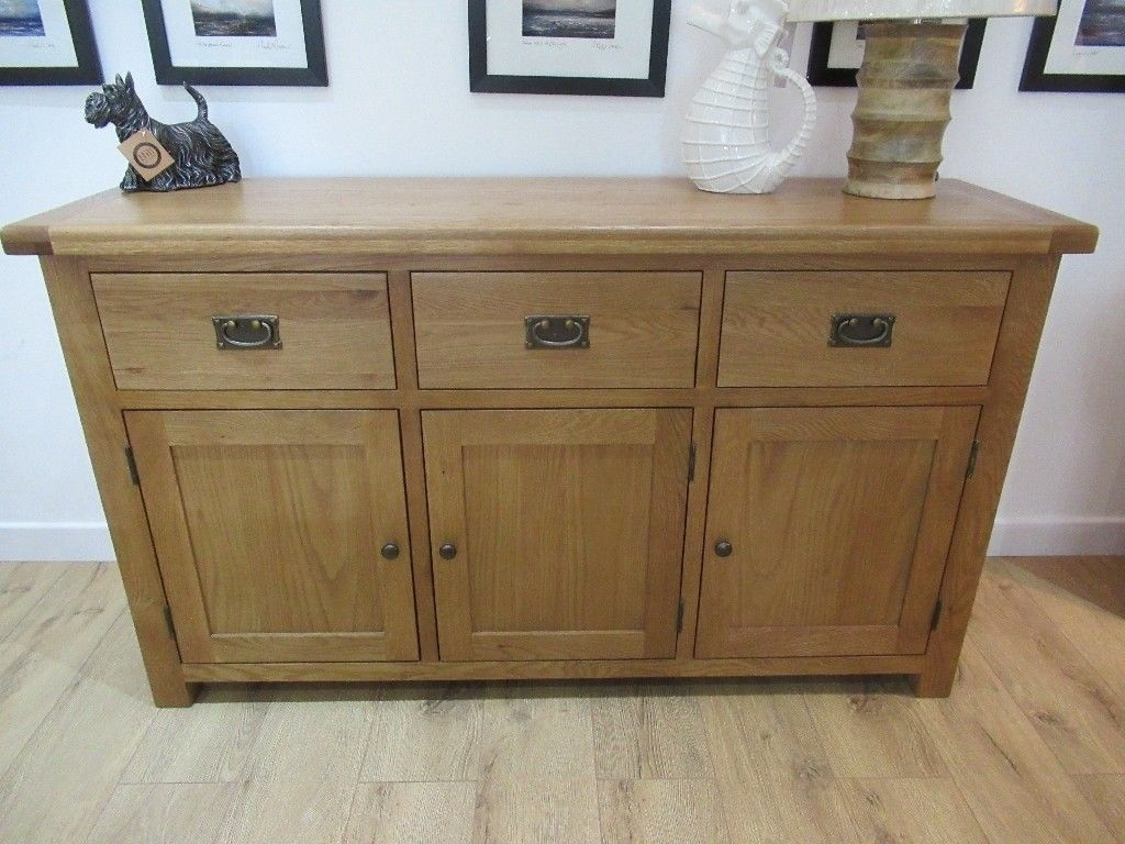 Elegant 3 Door 3 Drawer Sideboard. Constructed From Solid Oak inside Aged Pine 3-Drawer 2-Door Sideboards (Image 9 of 30)