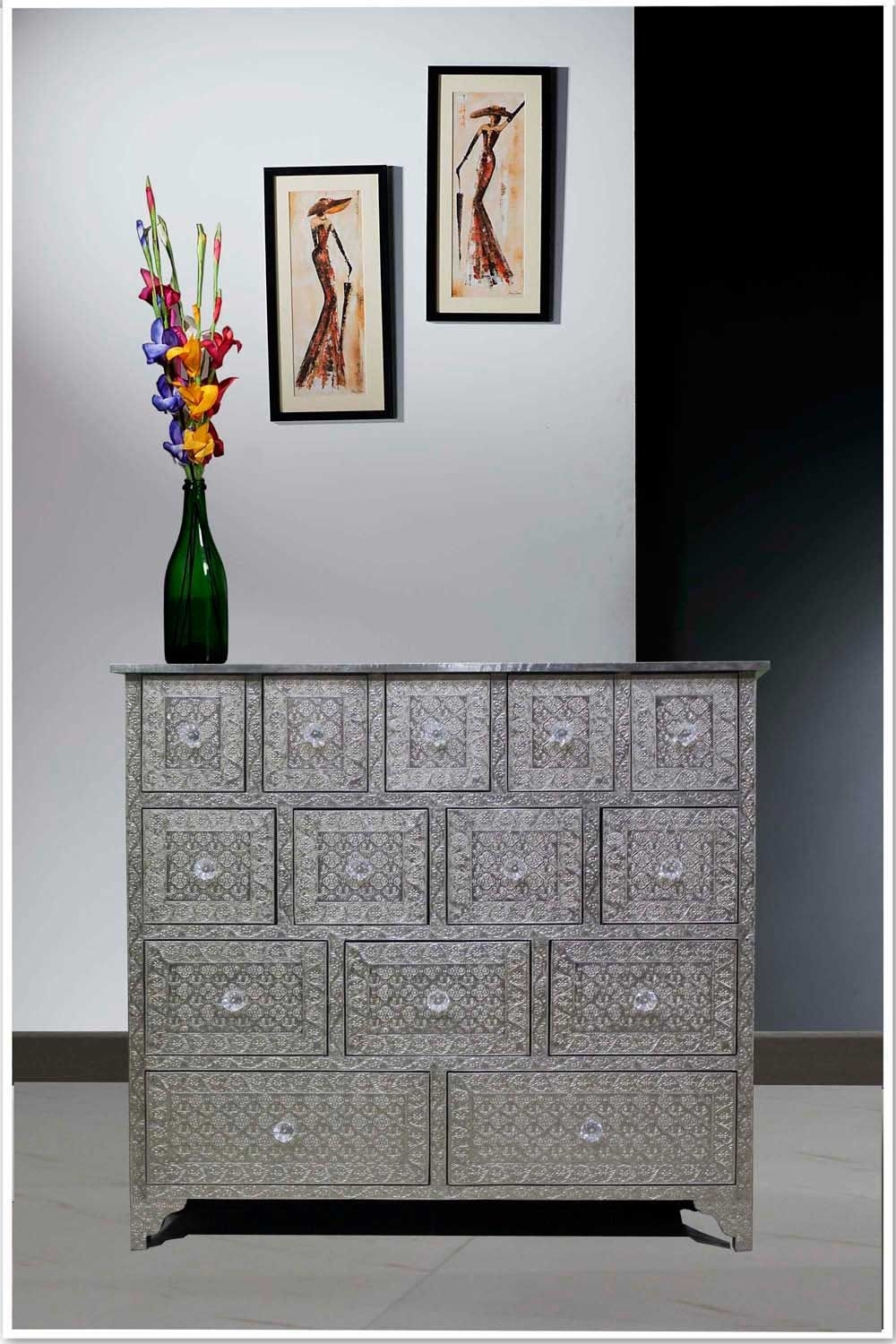 Embossed White Metal 14-Drawer Chest /sideboard/metal Dresser | Bone intended for Geo Pattern Black And White Bone Inlay Sideboards (Image 14 of 30)