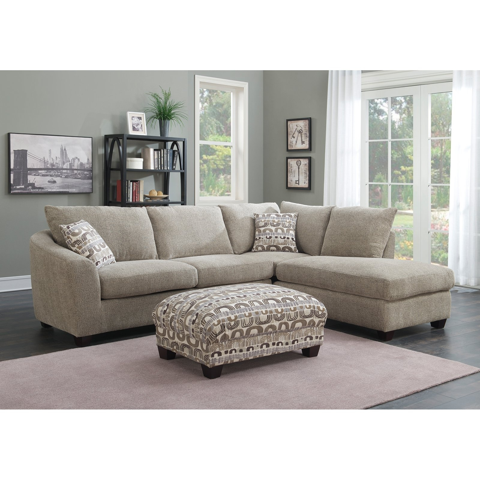 Emerald Home Urbana Piece Sectional Sofa With Chaise Couch Double With Delano 2 Piece Sectionals With Laf Oversized Chaise (View 23 of 30)