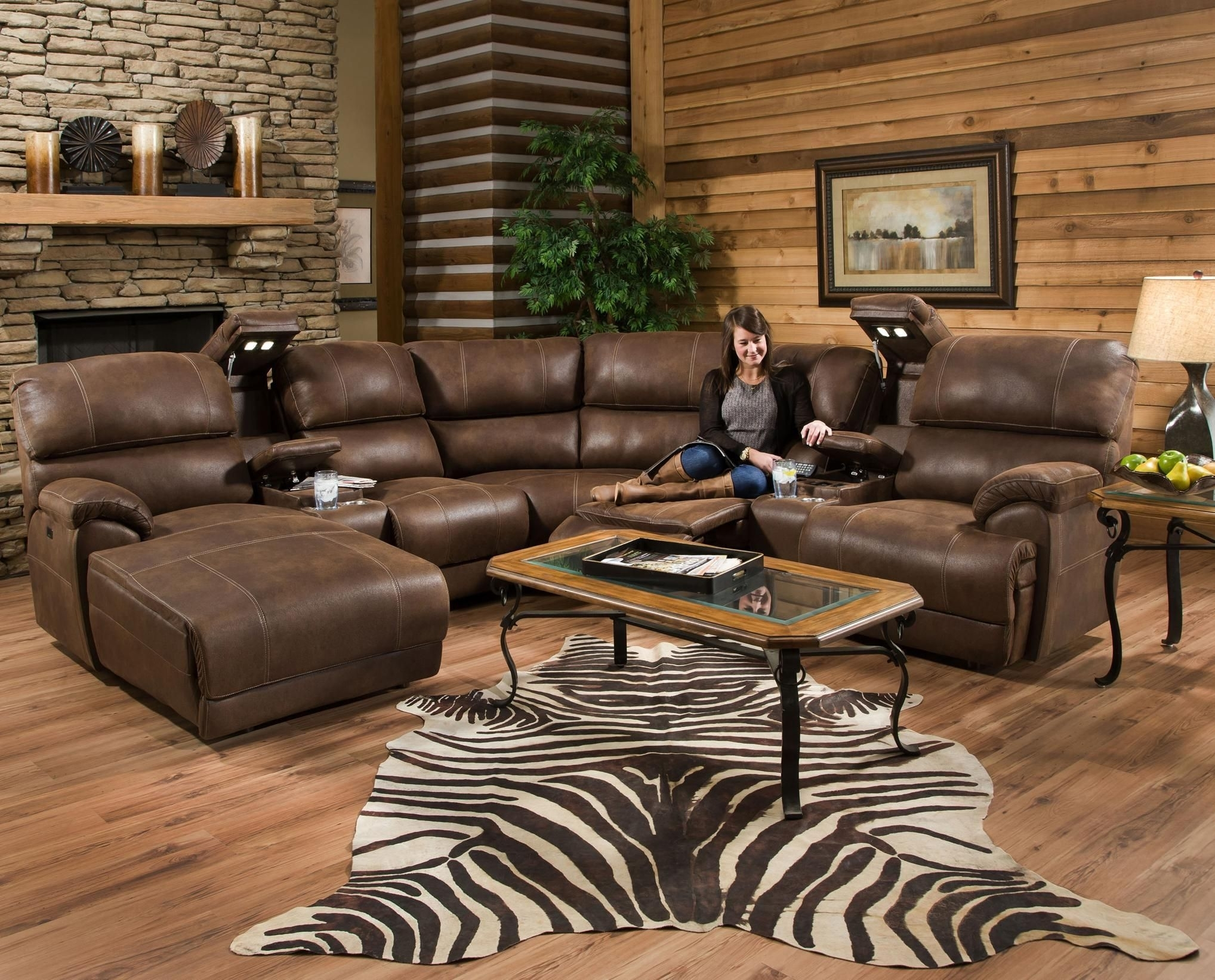Empire Reclining Sectional Sofa With Massagefranklin | Interior Regarding Marcus Chocolate 6 Piece Sectionals With Power Headrest And Usb (Photo 27 of 30)