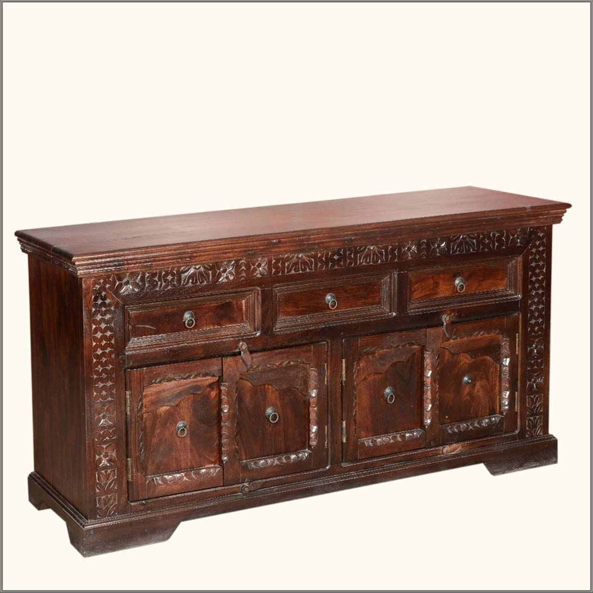 Empire Rustic Solid Wood 4 Door 3 Drawer Sideboard | Dining Room throughout Acacia Wood 4-Door Sideboards (Image 8 of 30)