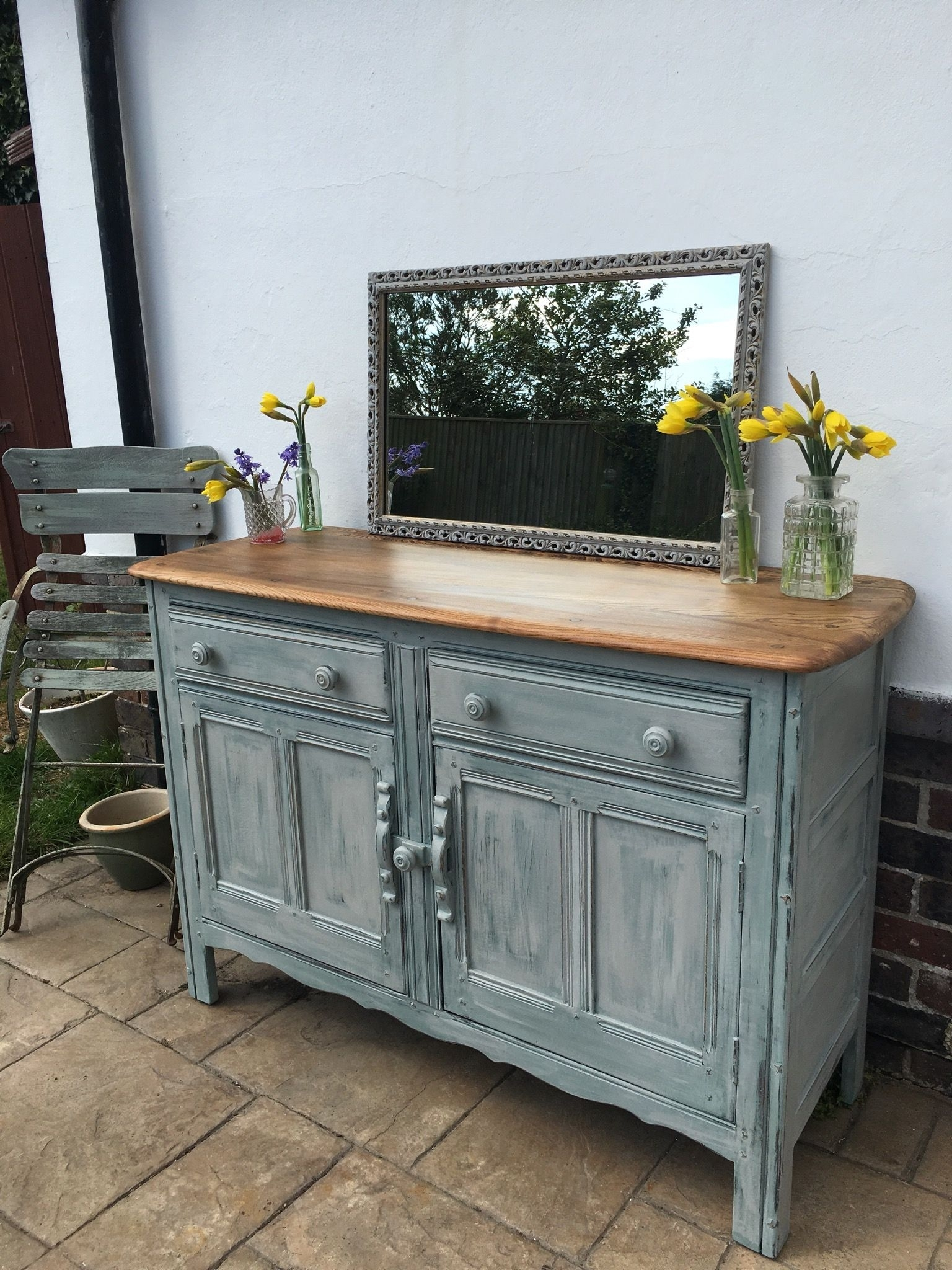 Ercol Sideboard , Painted In Annie Sloan Duck Egg Blue And Paris Within Blue Stone Light Rustic Black Sideboards (Photo 13 of 30)