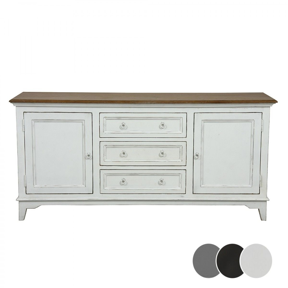 Esquisse 2 Door 3 Drawer Sideboard – Black – Buffets & Sideboards Pertaining To 4 Door 3 Drawer White Wash Sideboards (View 7 of 30)
