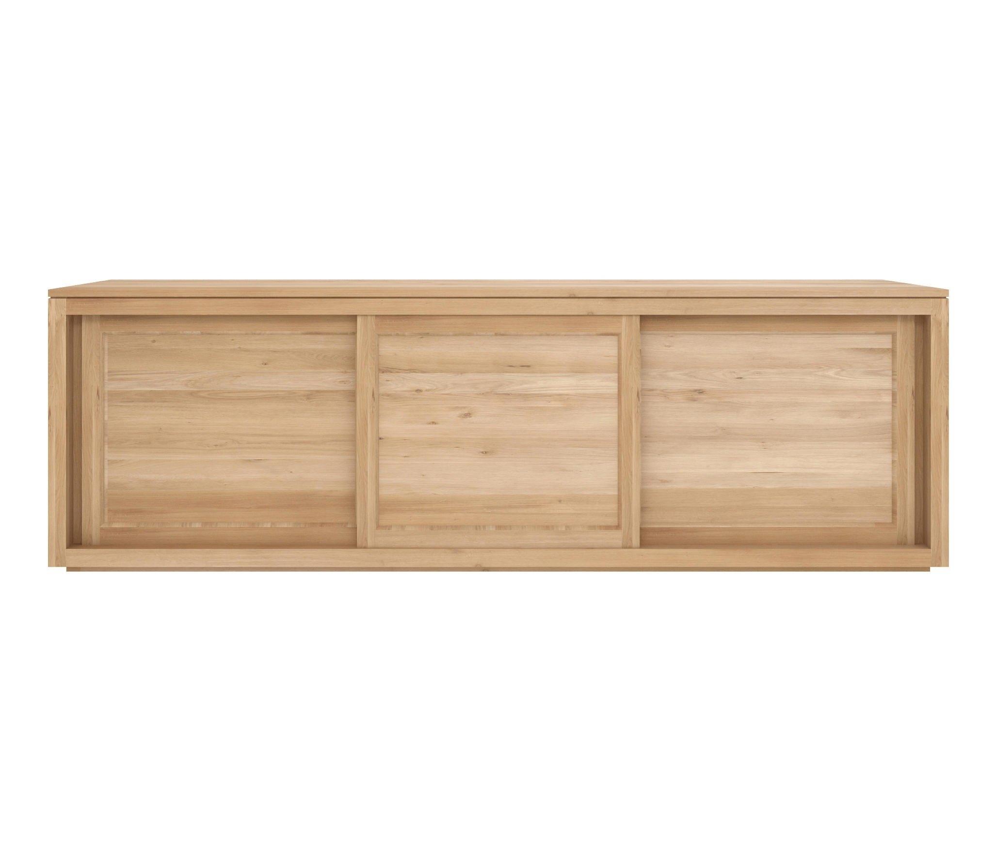 Ethnicraft Oak Pure Sideboard 200 Cm - 3 Sliding Doors in Industrial 3 Drawer 3 Door Sideboards (Image 9 of 30)