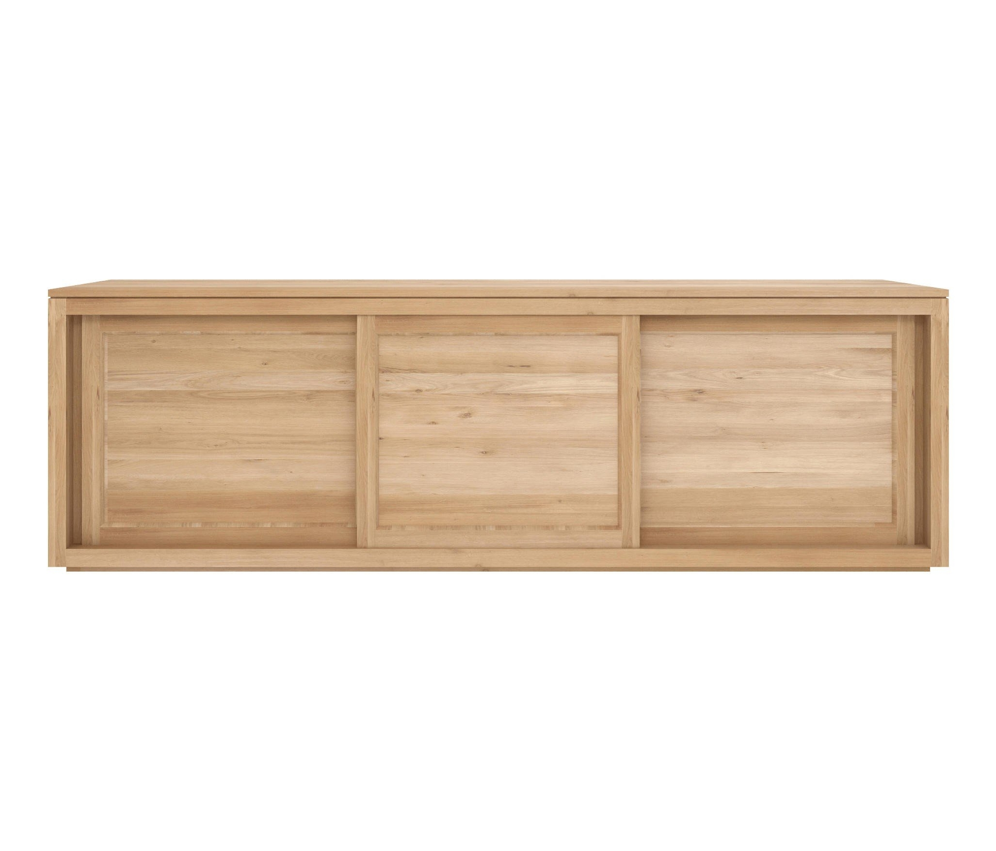 Ethnicraft Oak Pure Sideboard 200 Cm - 3 Sliding Doors within 4 Door Wood Squares Sideboards (Image 13 of 30)