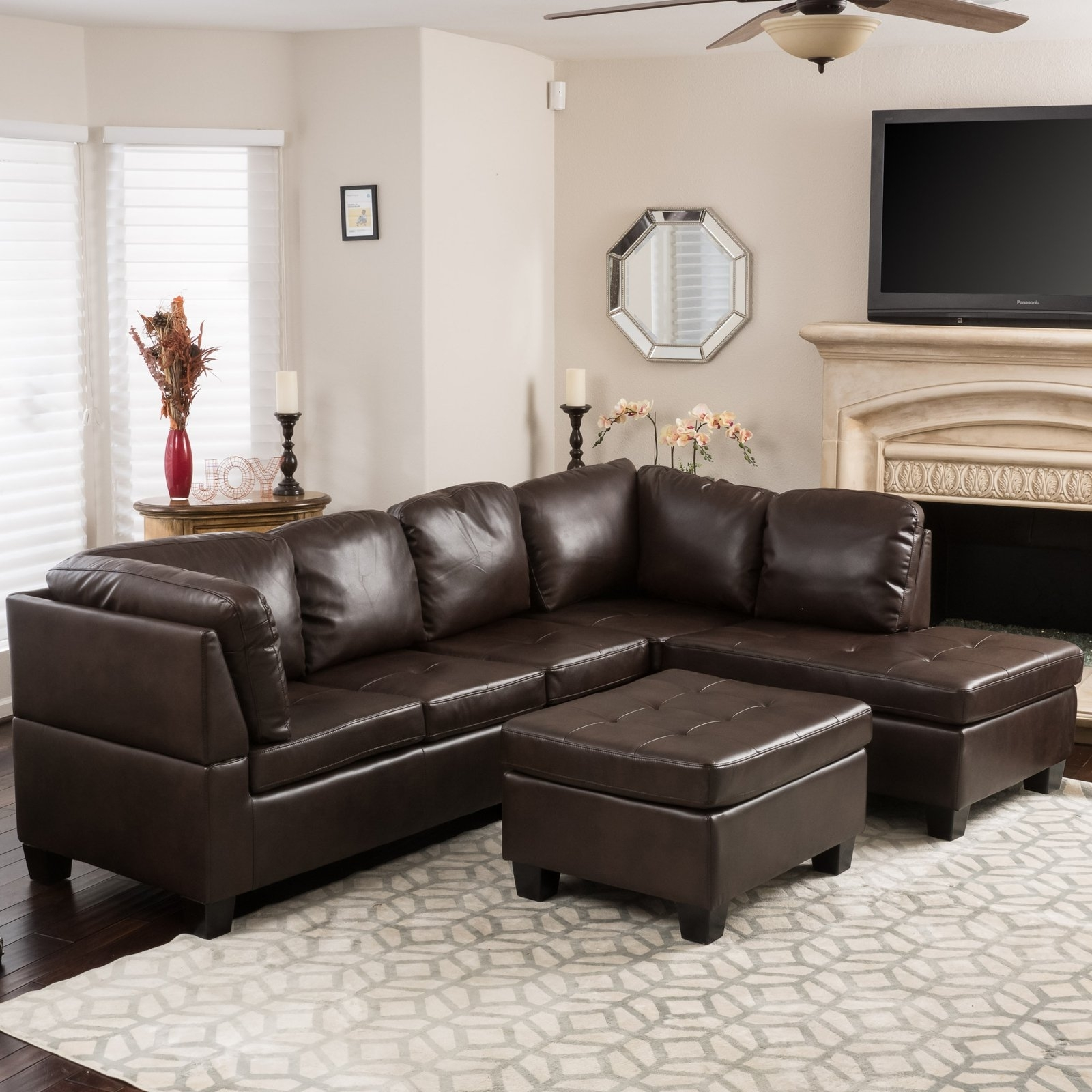 Evan 3 Piece Leather Sectional Sofa | Hayneedle pertaining to Norfolk Chocolate 6 Piece Sectionals (Image 14 of 30)