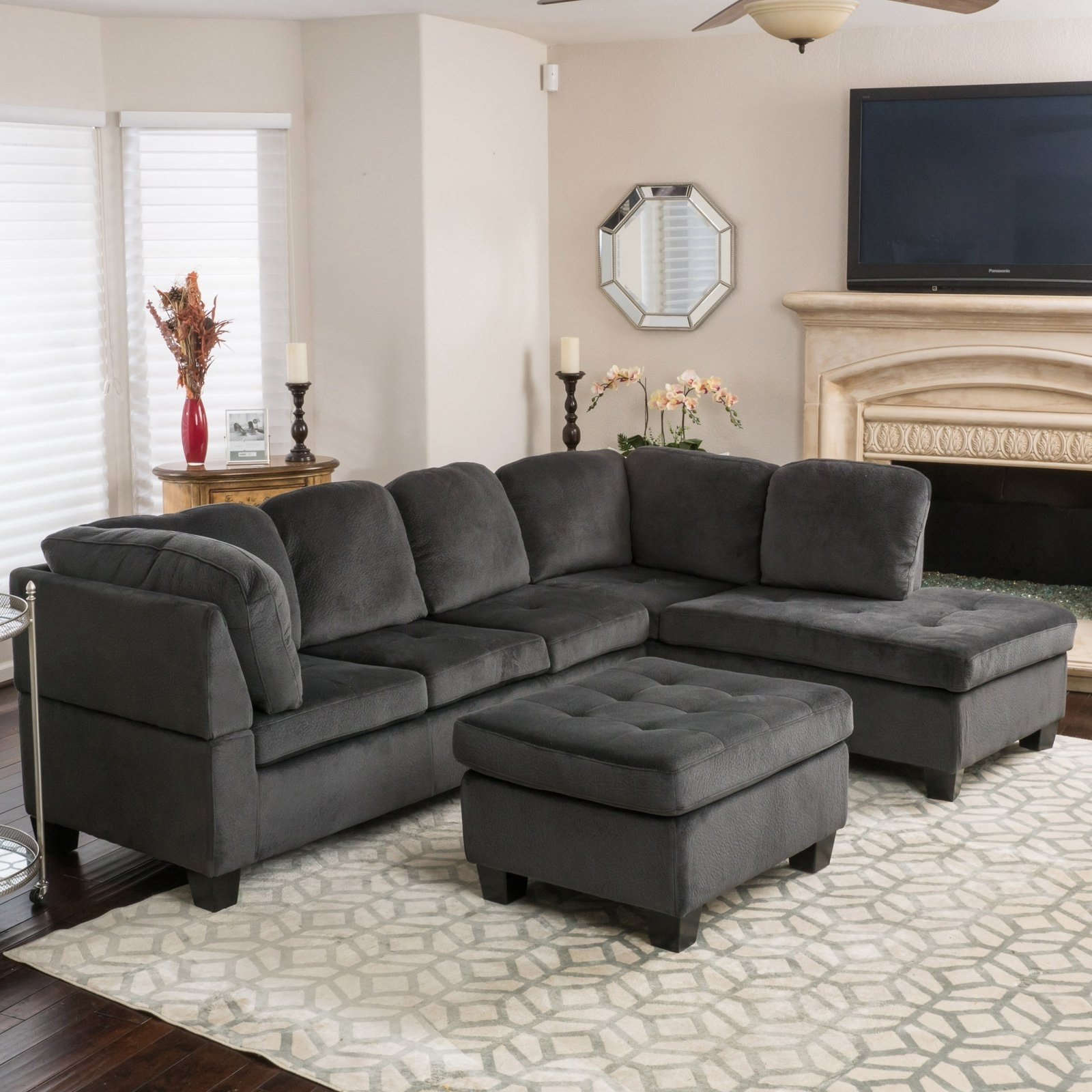 Evan 3 Piece Sectional Sofa | Hayneedle regarding Evan 2 Piece Sectionals With Raf Chaise (Image 15 of 30)