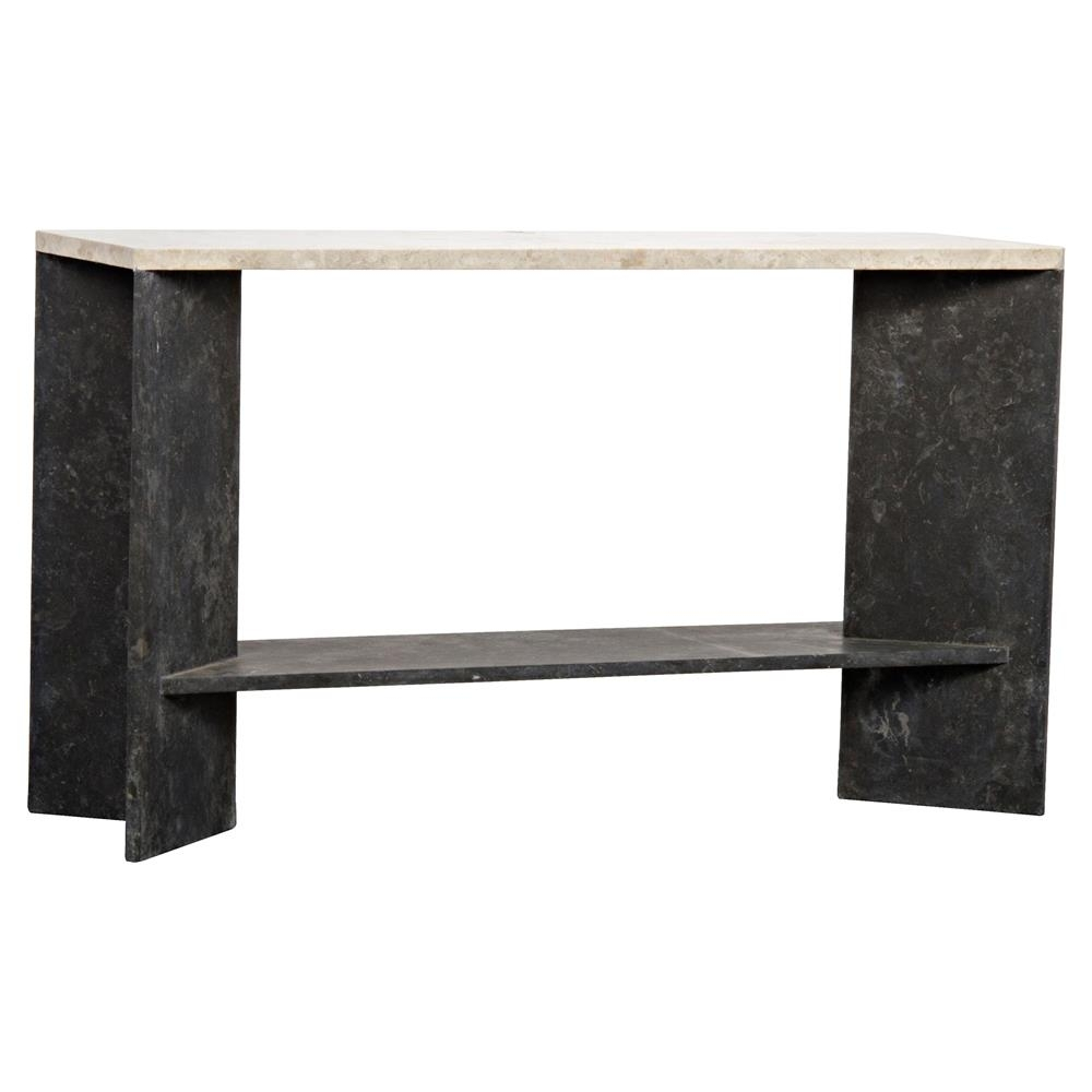Everett Modern Classic Rectangular Black White Marble Console Table intended for Jaxon Grey Sideboards (Image 9 of 30)