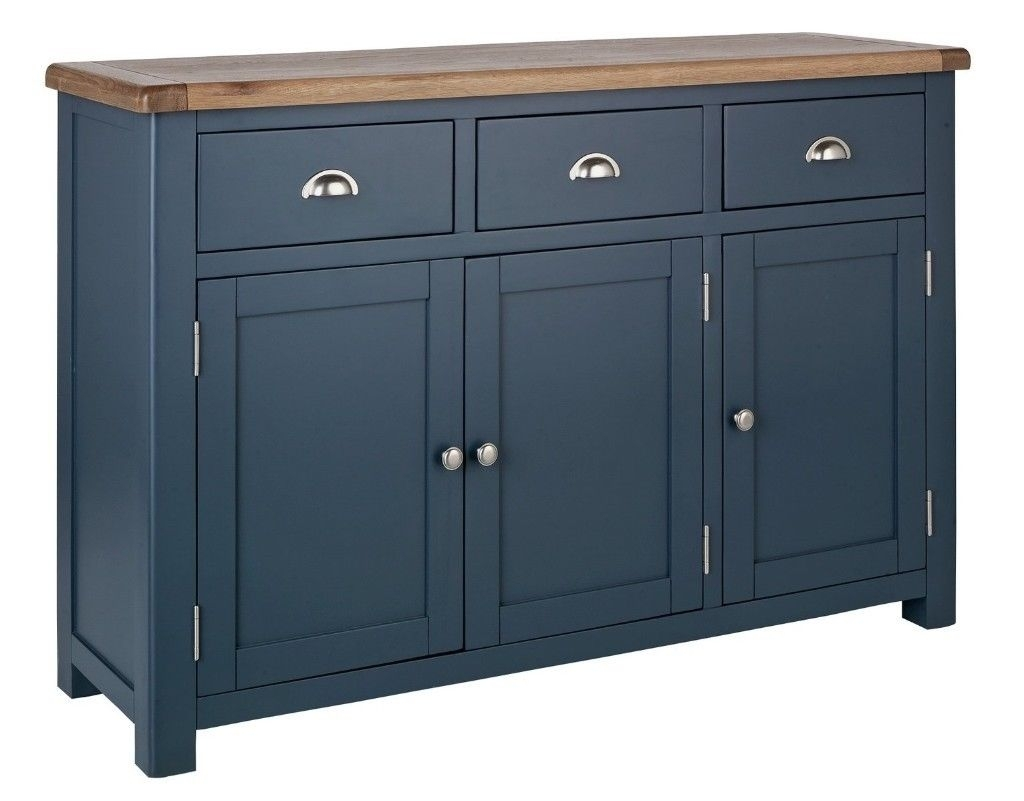 Ex Display Argos Home Kent 3 Door Large Oak Veneer Sideboard – Blue Inside Dark Smoked Oak With White Marble Top Sideboards (Gallery 16 of 30)
