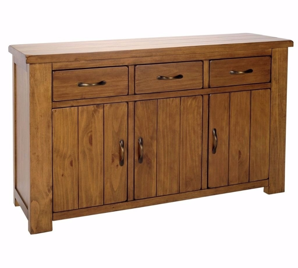 Ex Display Arizona 3 Door 3 Drawer Sideboard - Solid Pine | In within Aged Pine 3-Drawer 2-Door Sideboards (Image 10 of 30)