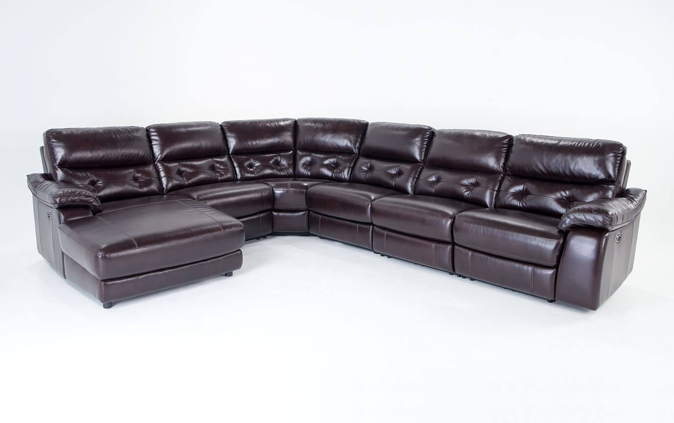 Excalibur Leather Power Reclining 6 Piece Right Arm Facing Sectional intended for Marcus Grey 6 Piece Sectionals With  Power Headrest & Usb (Image 11 of 30)