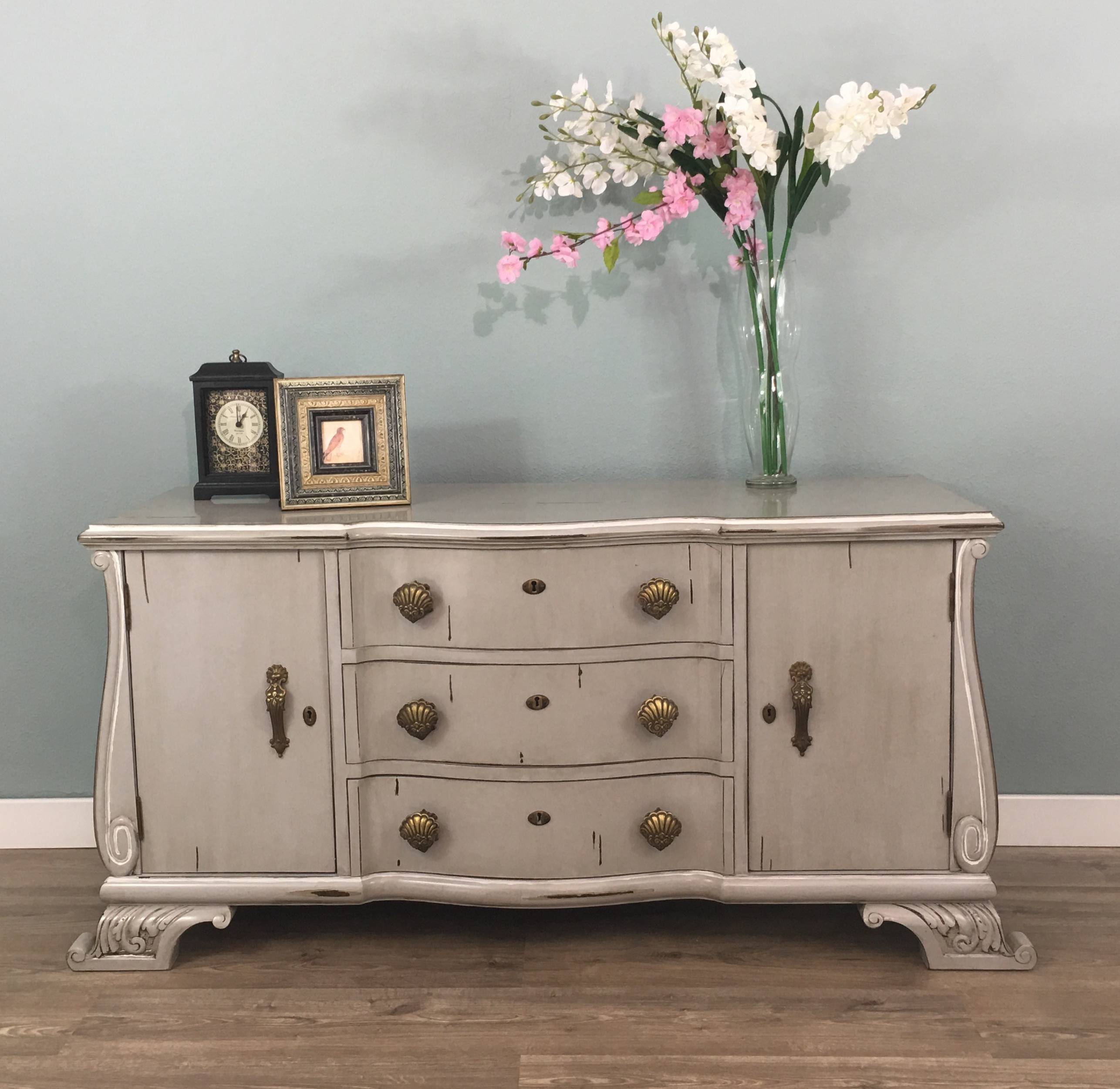 Exclusive Sideboard Vintage Custom Quality Price Discount Grey With Vintage Finish 4 Door Sideboards (Gallery 9 of 30)