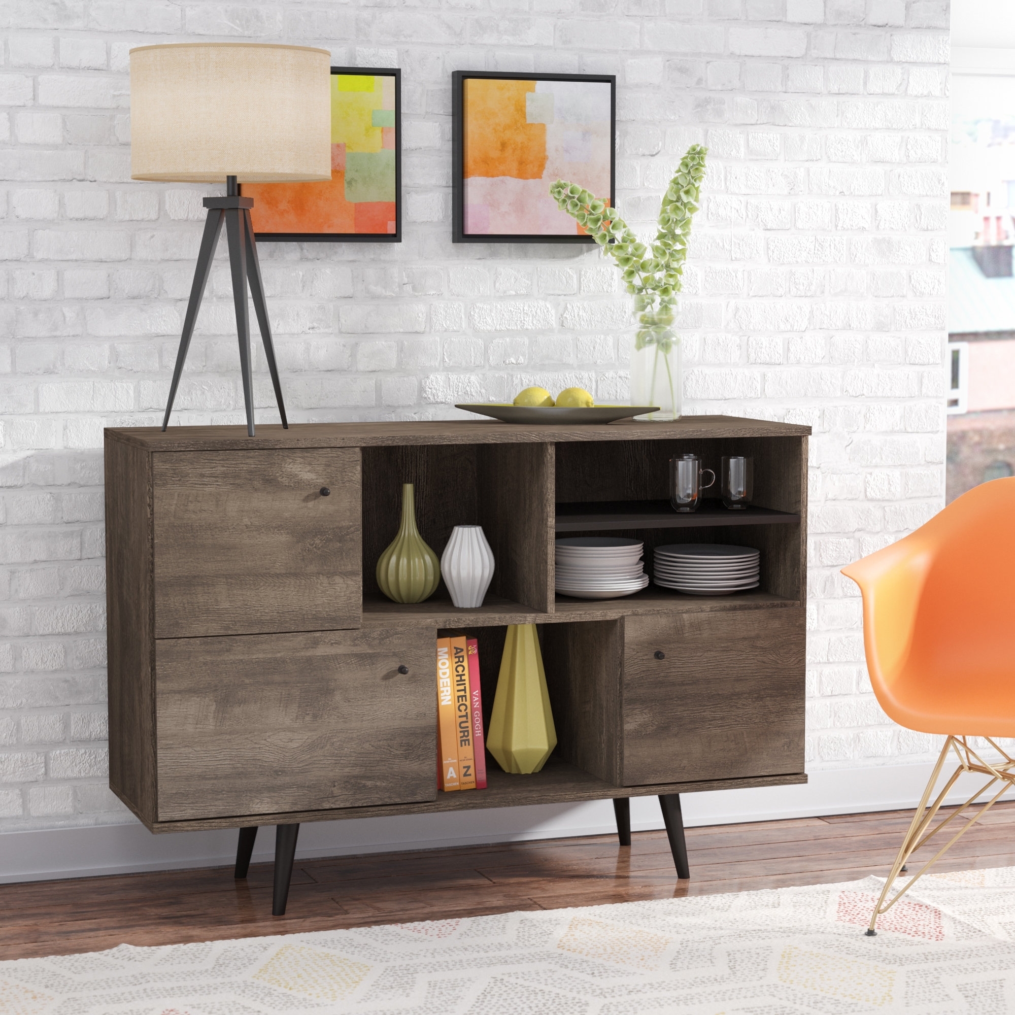 Extra Long Sideboard | Wayfair with regard to Walnut Finish Crown Moulding Sideboards (Image 18 of 30)