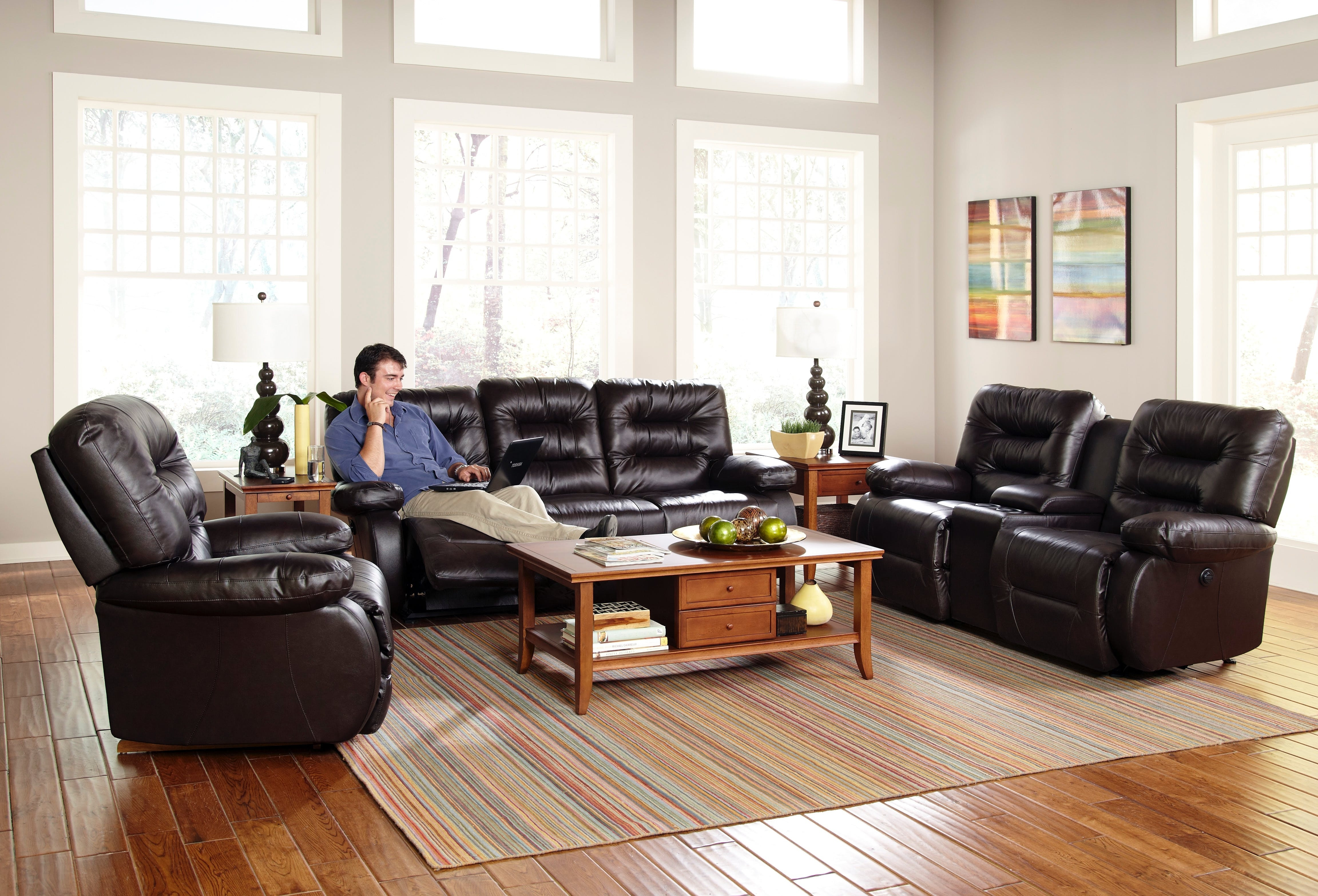 Fabric Sectional Sofa With Power Recliner | Baci Living Room throughout Declan 3 Piece Power Reclining Sectionals With Right Facing Console Loveseat (Image 14 of 30)