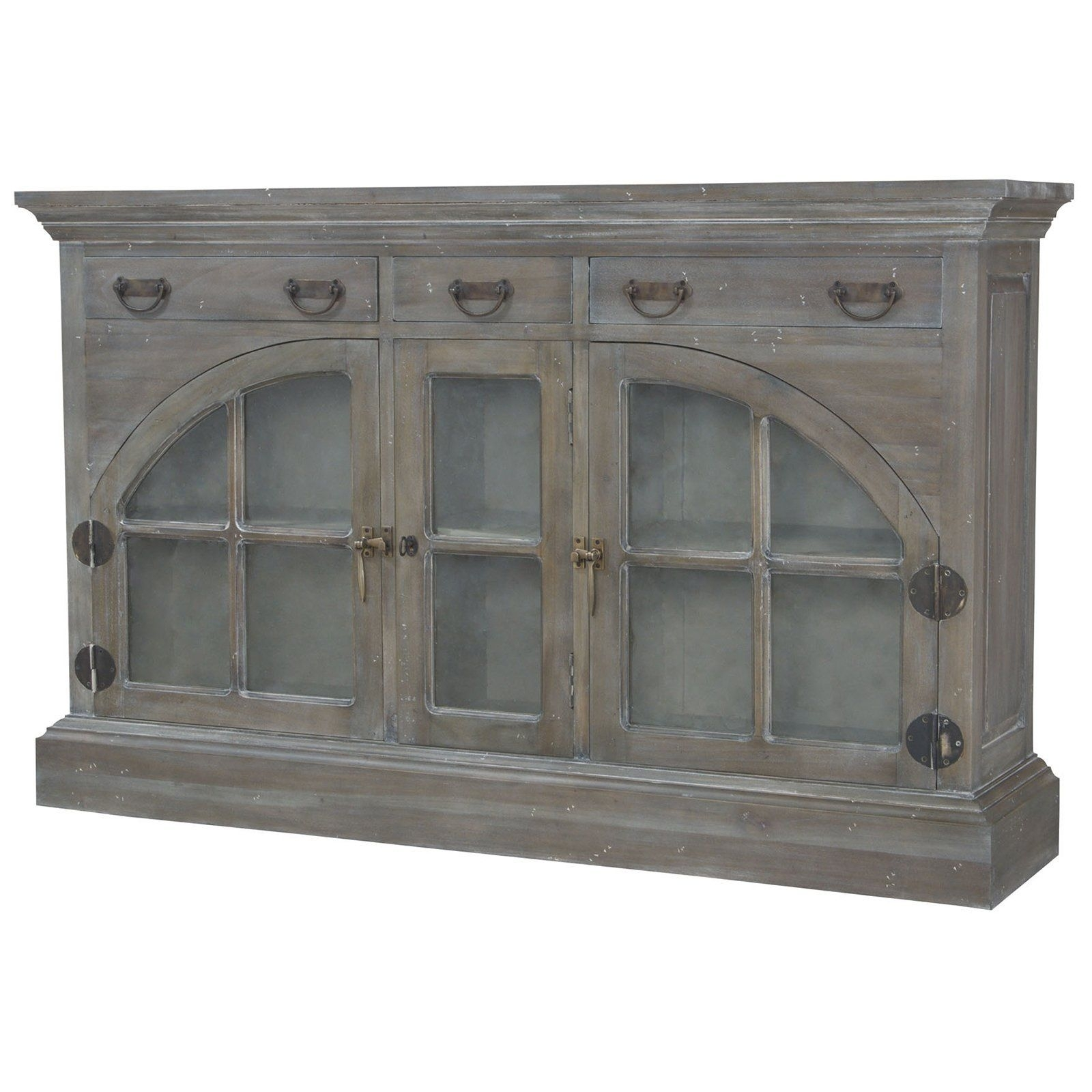Farmhouse China Credenza In Waterfront Grey Stain And White Wash for White Wash 4-Door Galvanized Sideboards (Image 12 of 30)