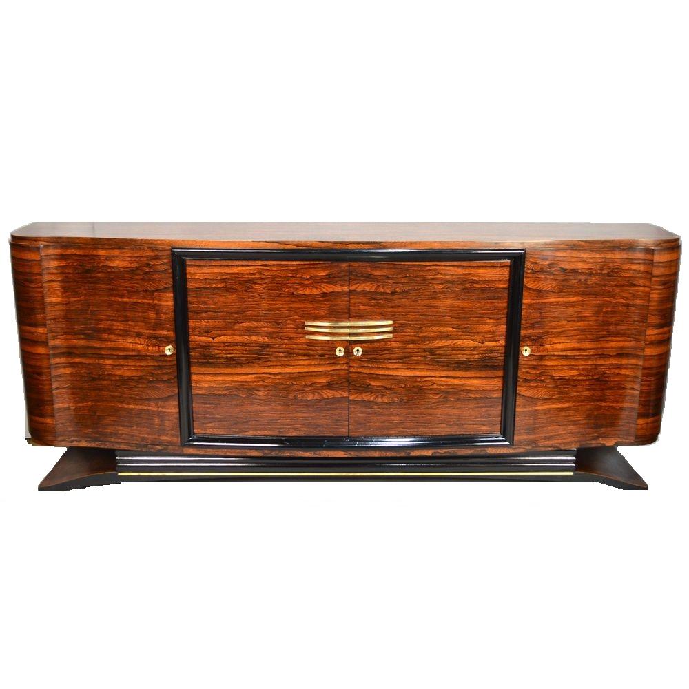 Fine Restored French Art Deco Sideboard Macassar Ebony & Brass, Ca in Aged Brass Sideboards (Image 9 of 30)