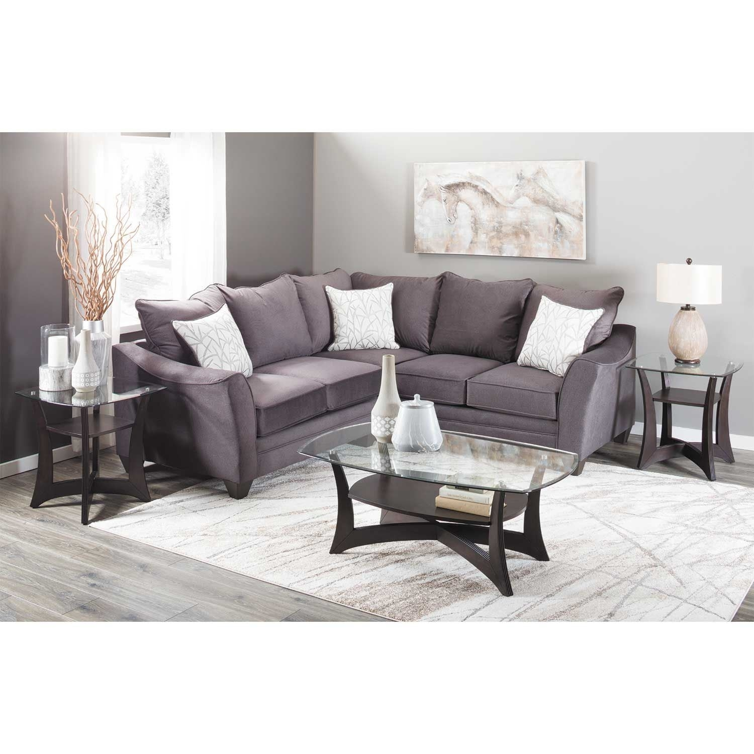Flannel Seal 2 Piece Sectional With Raf Sofa | 3810/3816 | American within Cosmos Grey 2 Piece Sectionals With Raf Chaise (Image 11 of 30)